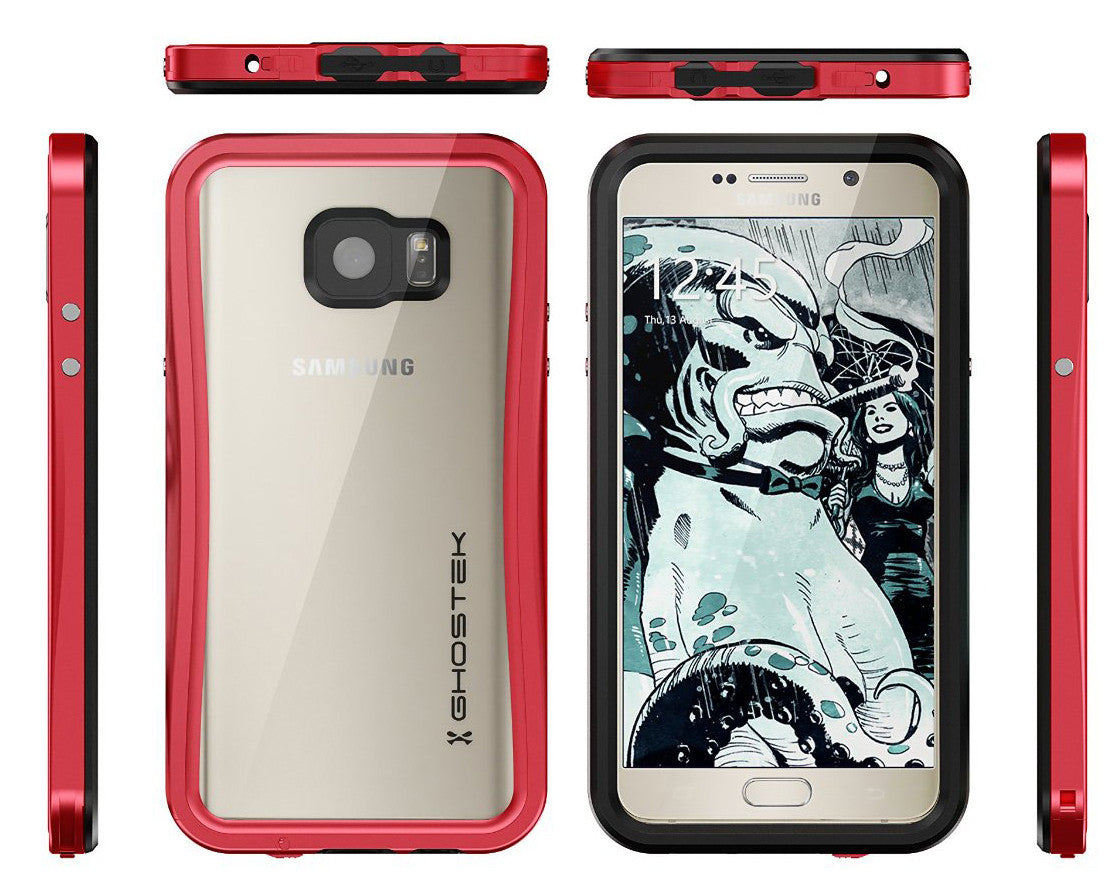 Note 5 Waterproof Case, Ghostek® Atomic 2.0 Series Red for Samsung Galaxy Note 5 | Aluminum Frame