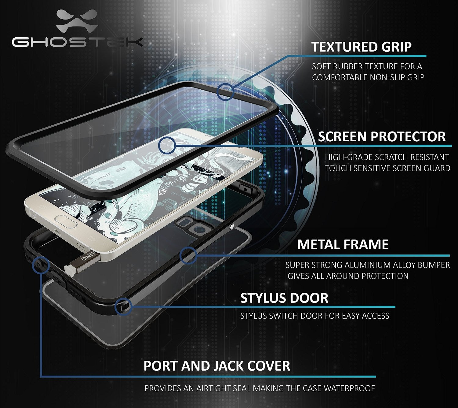 note 5 waterproof case   ghostek atomic 2 0 series black