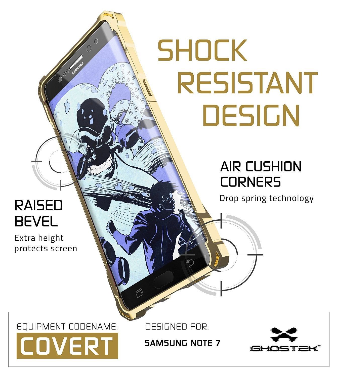 Note 7 Case, Ghostek® Covert Series Gold w/ Explosion-Proof Screen Protector | Ultra Fit