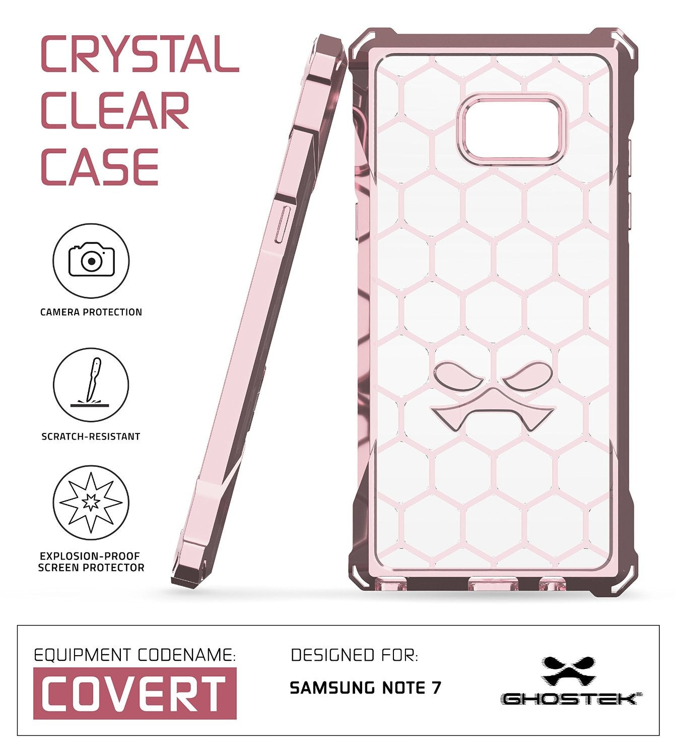 Note 7 Case, Ghostek® Covert Series Peach  w/ Explosion-Proof Screen Protector | Ultra Fit