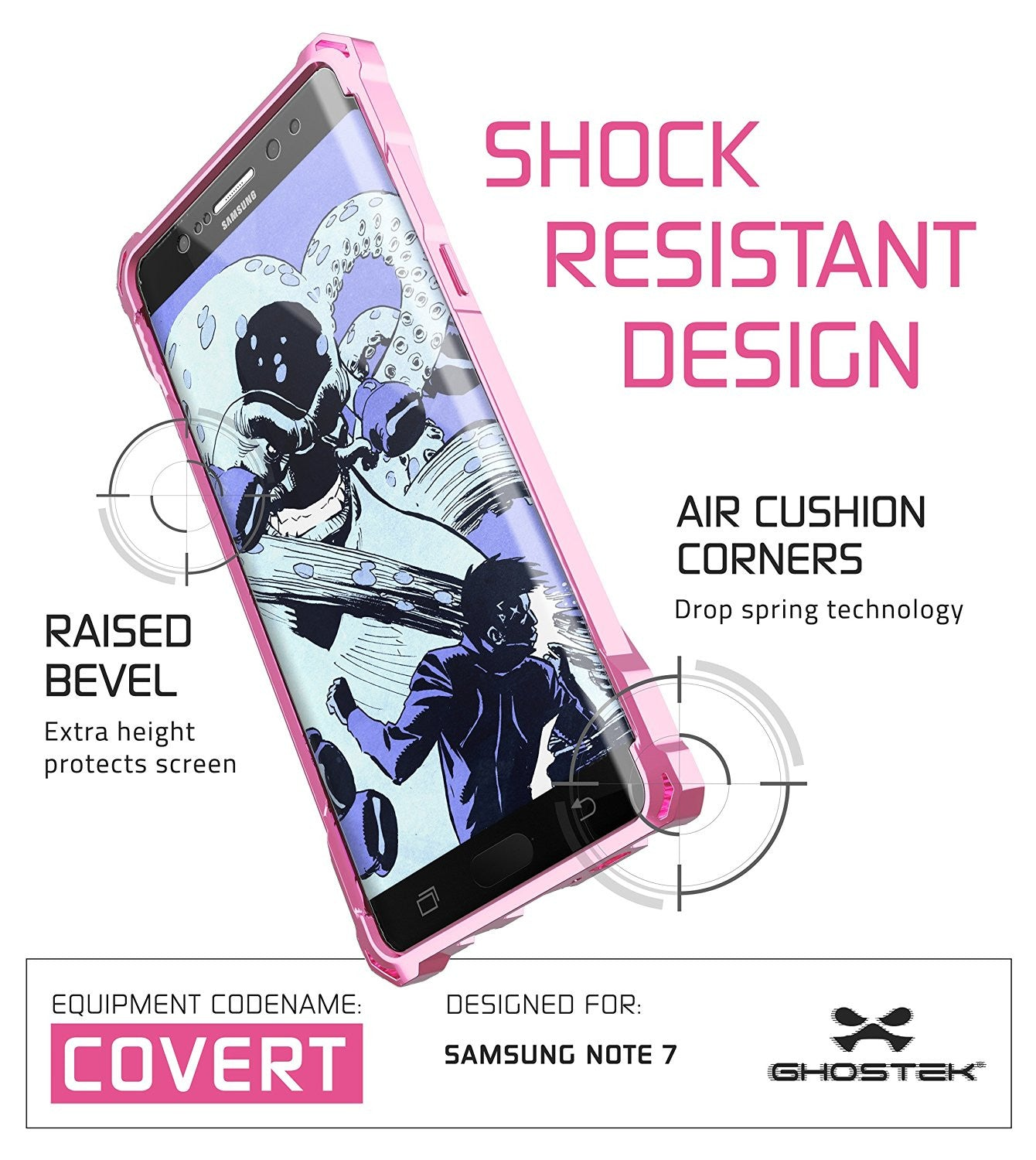 Note 7 Case, Ghostek® Covert Series Rose Pink w/ Explosion-Proof Screen Protector | Ultra Fit