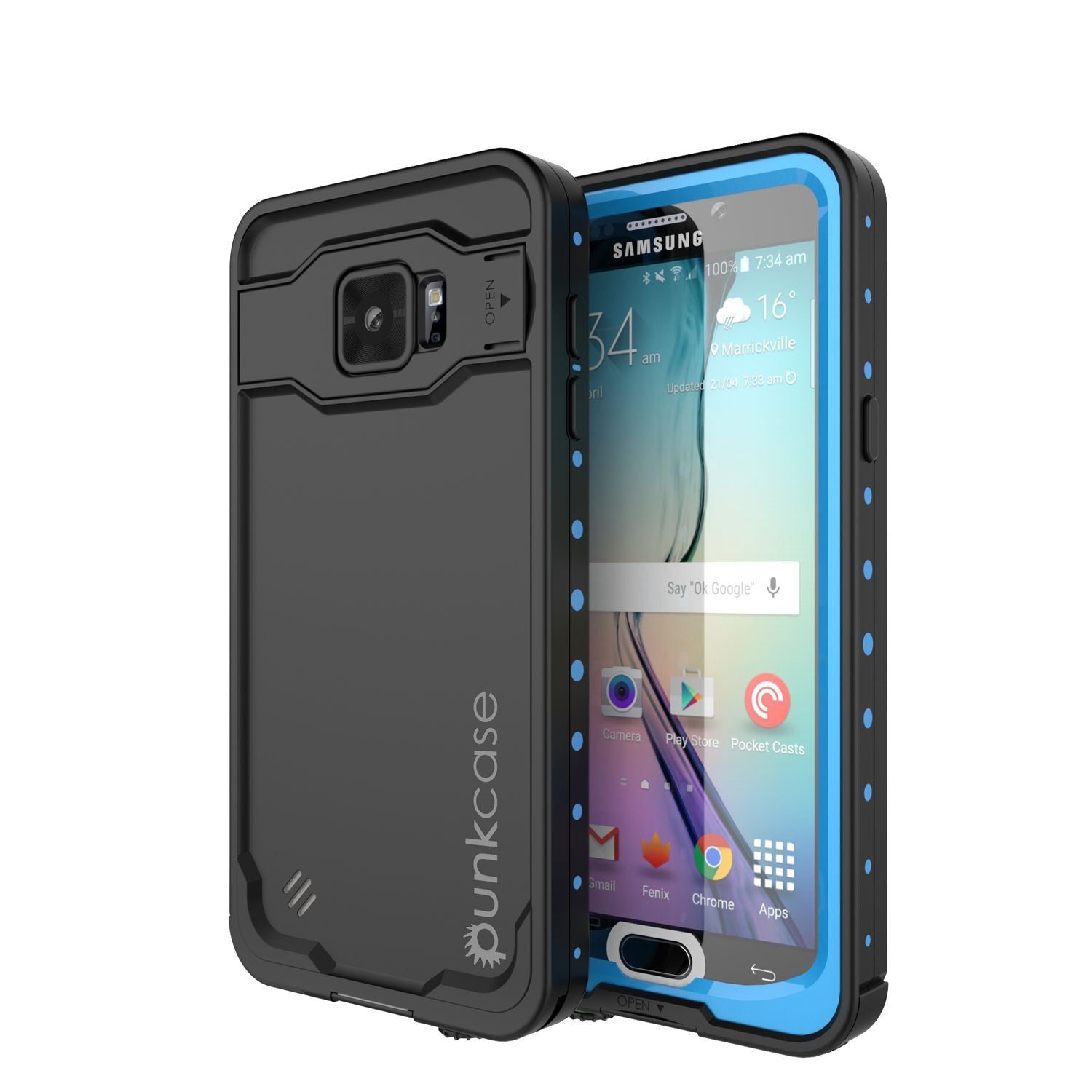 Galaxy Note 5 Waterproof Case, Punkcase StudStar Light Blue Shock/Dirt Proof | Lifetime Warranty