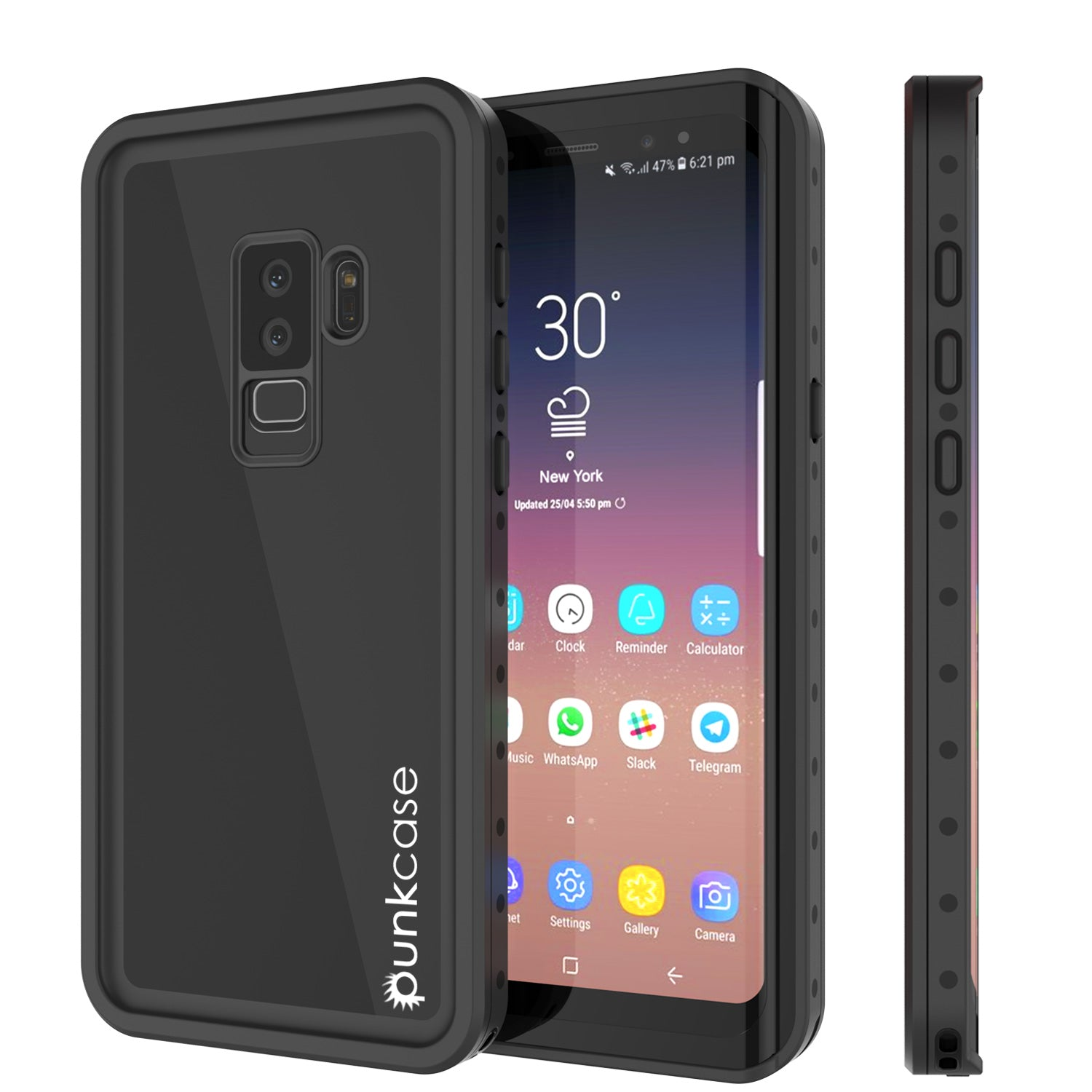 Galaxy S9 Plus Waterproof Case PunkCase StudStar Black Thin 6.6ft Underwater IP68 Shock/Snow Proof