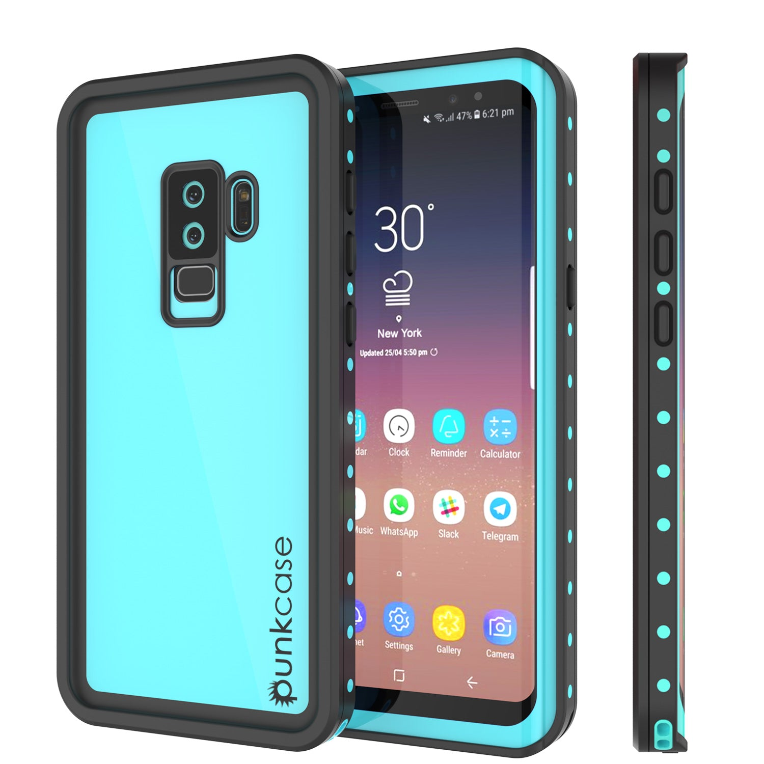 Galaxy S9 Plus Waterproof Case PunkCase StudStar Teal Thin 6.6ft Underwater IP68 Shock/Snow Proof
