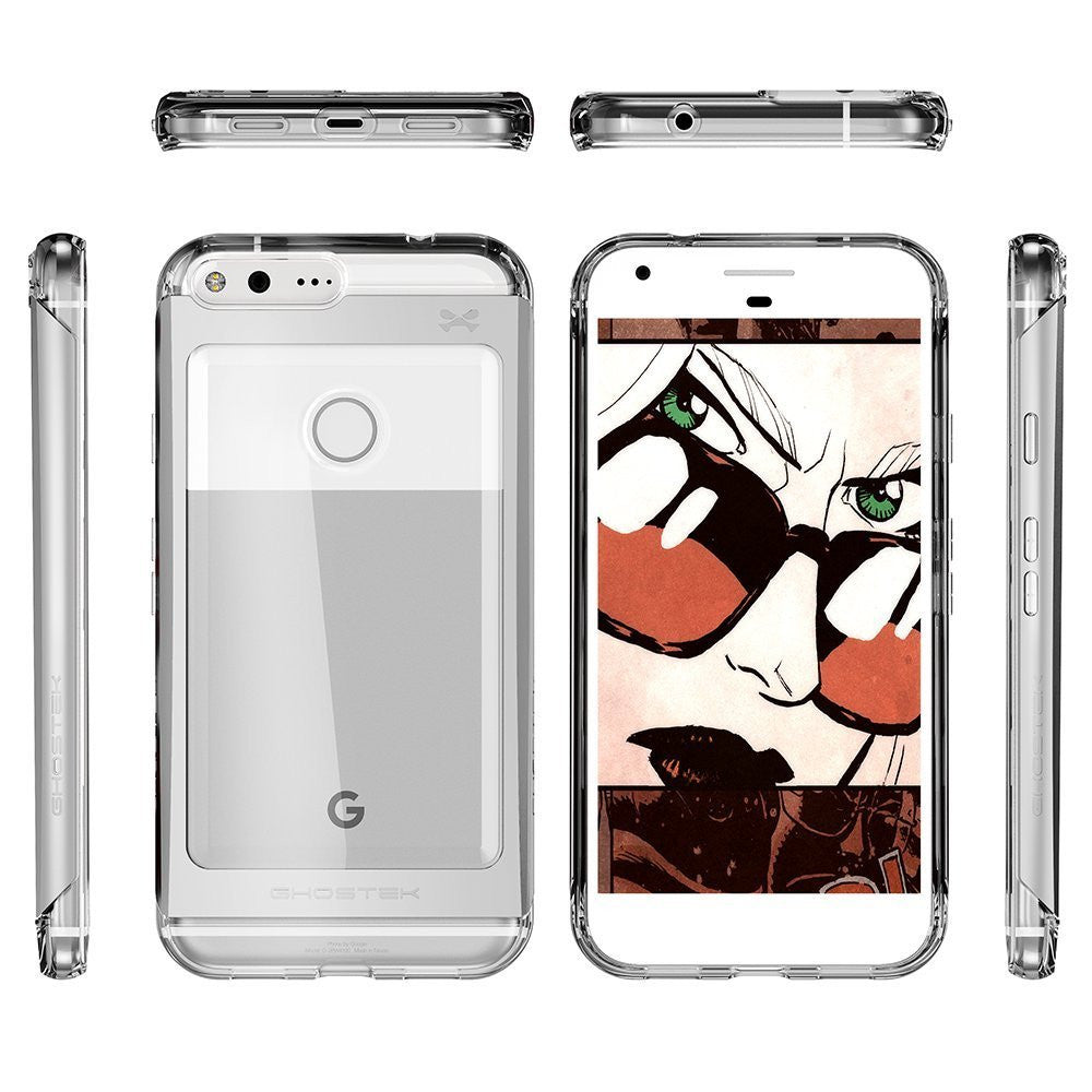 Google Pixel Case, Ghostek® 2.0 Silver Series w/ Explosion-Proof Screen Protector | Aluminum Frame