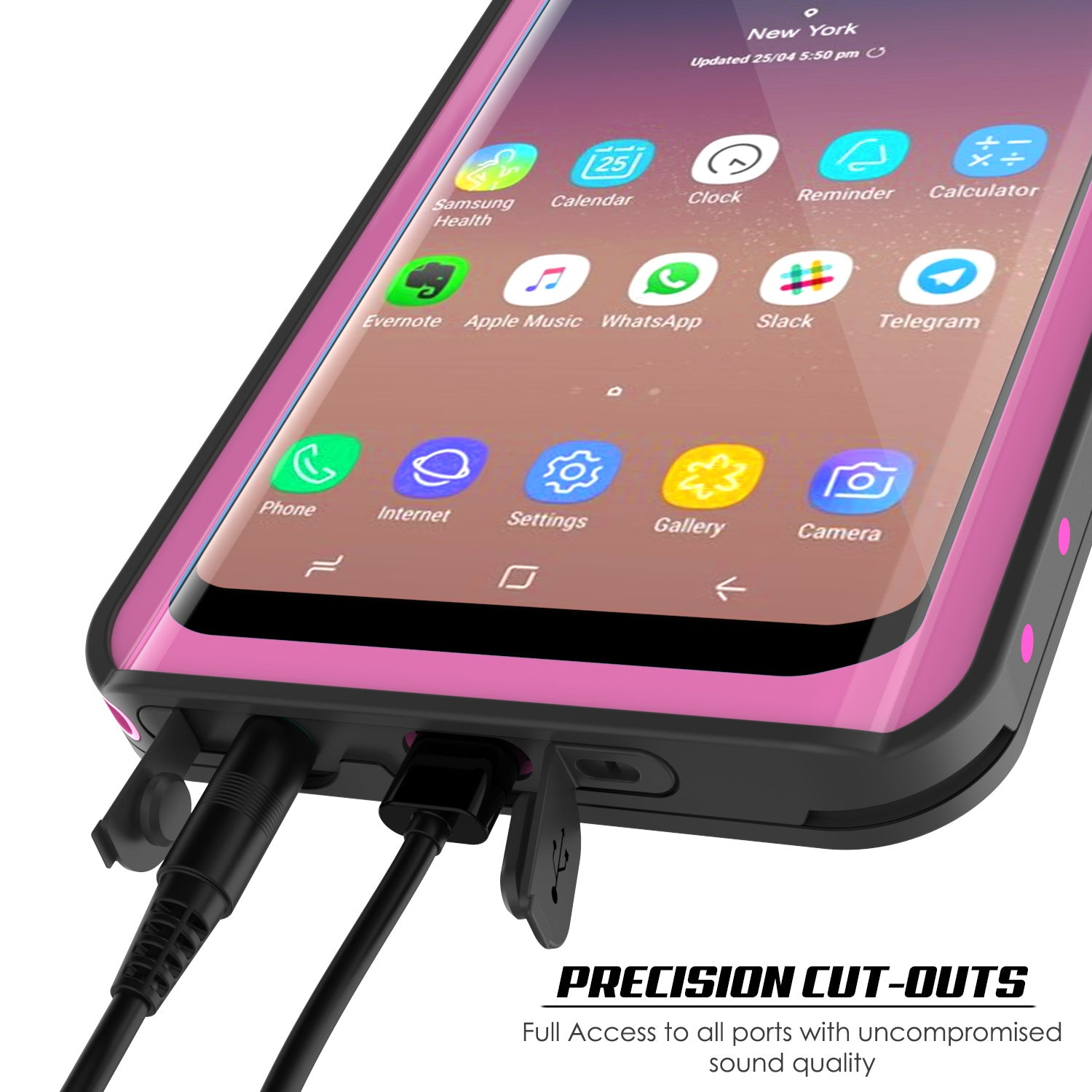 Galaxy S9 Waterproof Case PunkCase StudStar Pink Thin 6.6ft Underwater IP68 Shock/Snow Proof