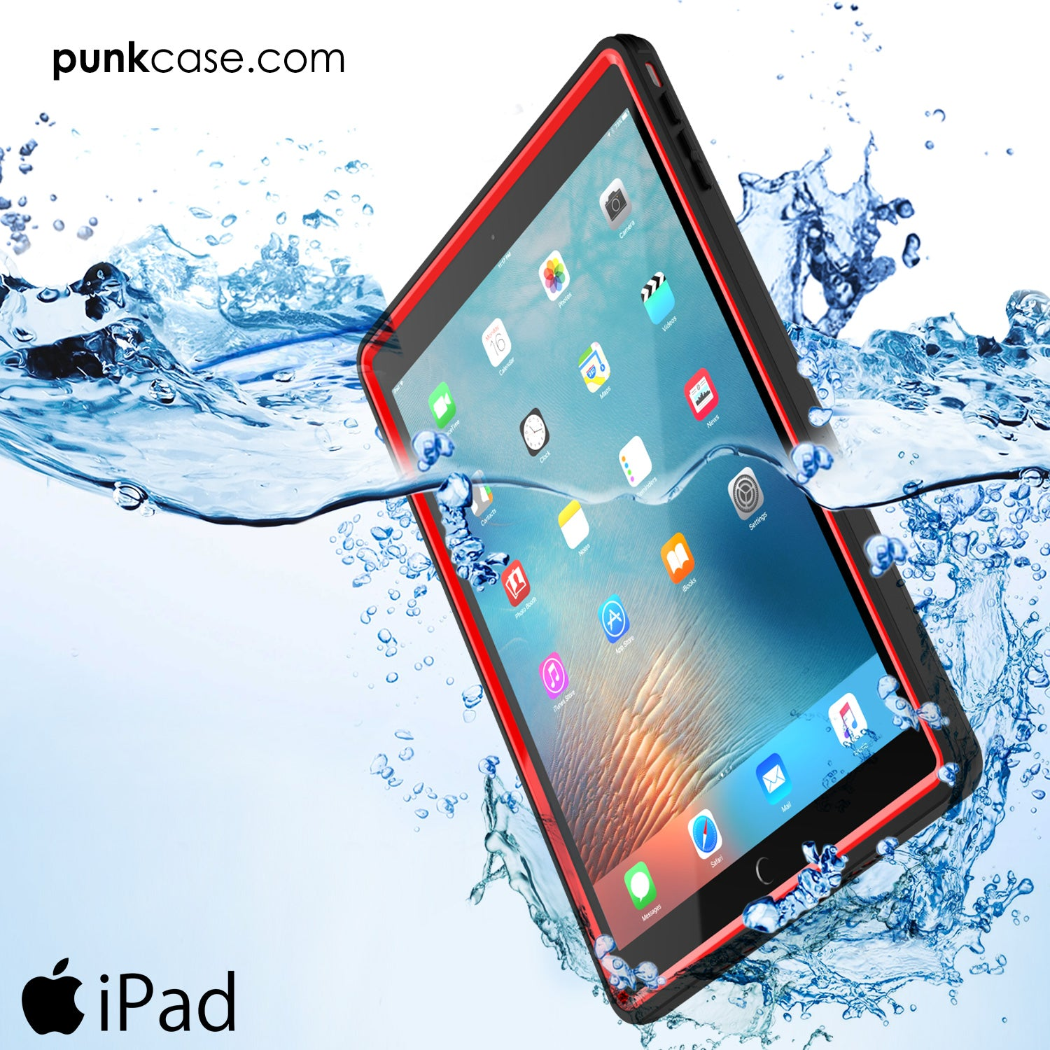 Punkcase iPad Pro 9.7 Case [CRYSTAL Series], Waterproof, Ultra-Thin Cover [Shockproof] [Dustproof] with Built-in Screen Protector [Red]