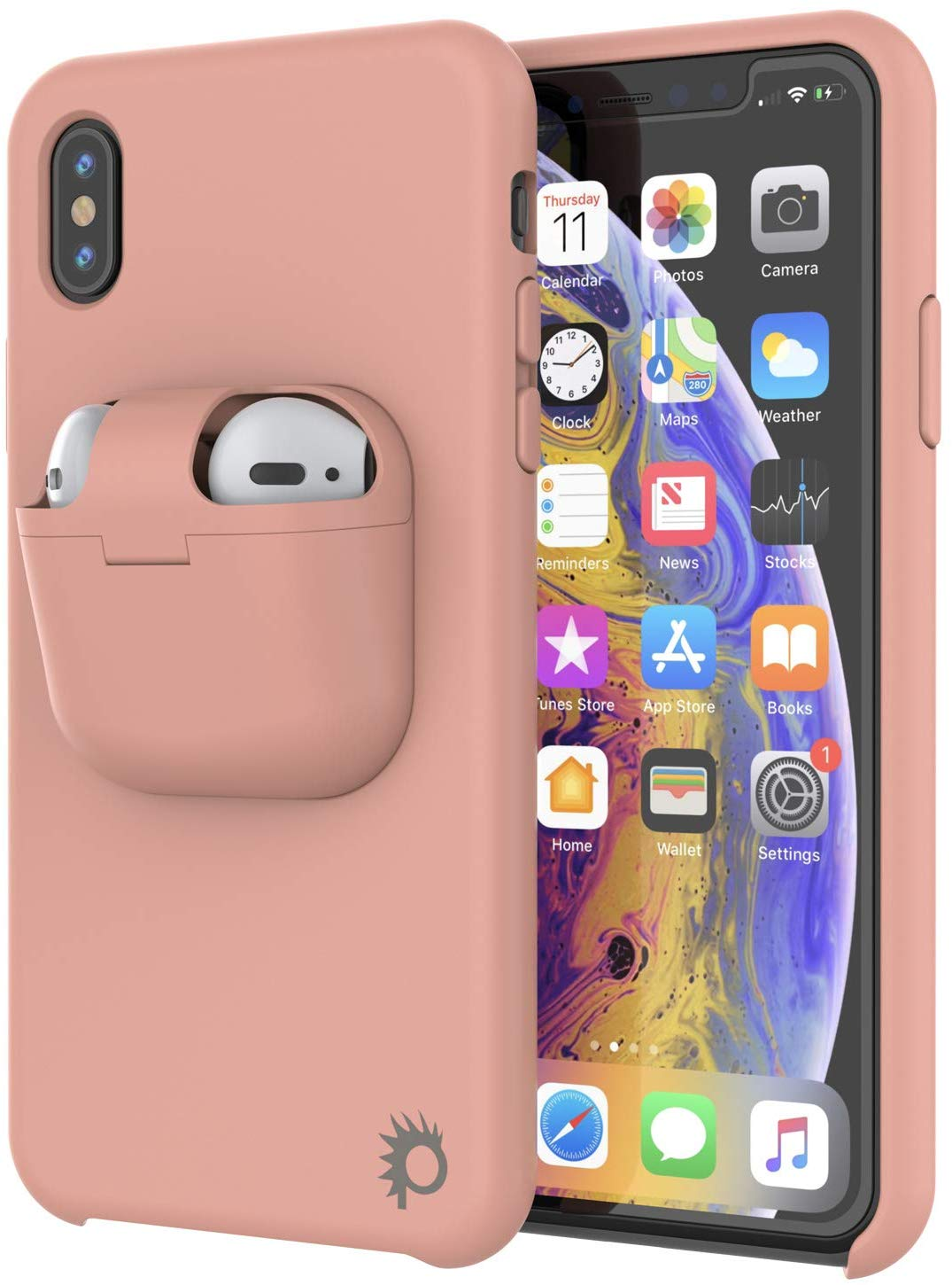 "Punkcase iPhone X Airpods Case Holder (CenterPods Series) | Slim & Durable 2 in 1 Cover Designed for iPhone X (6.1"") 