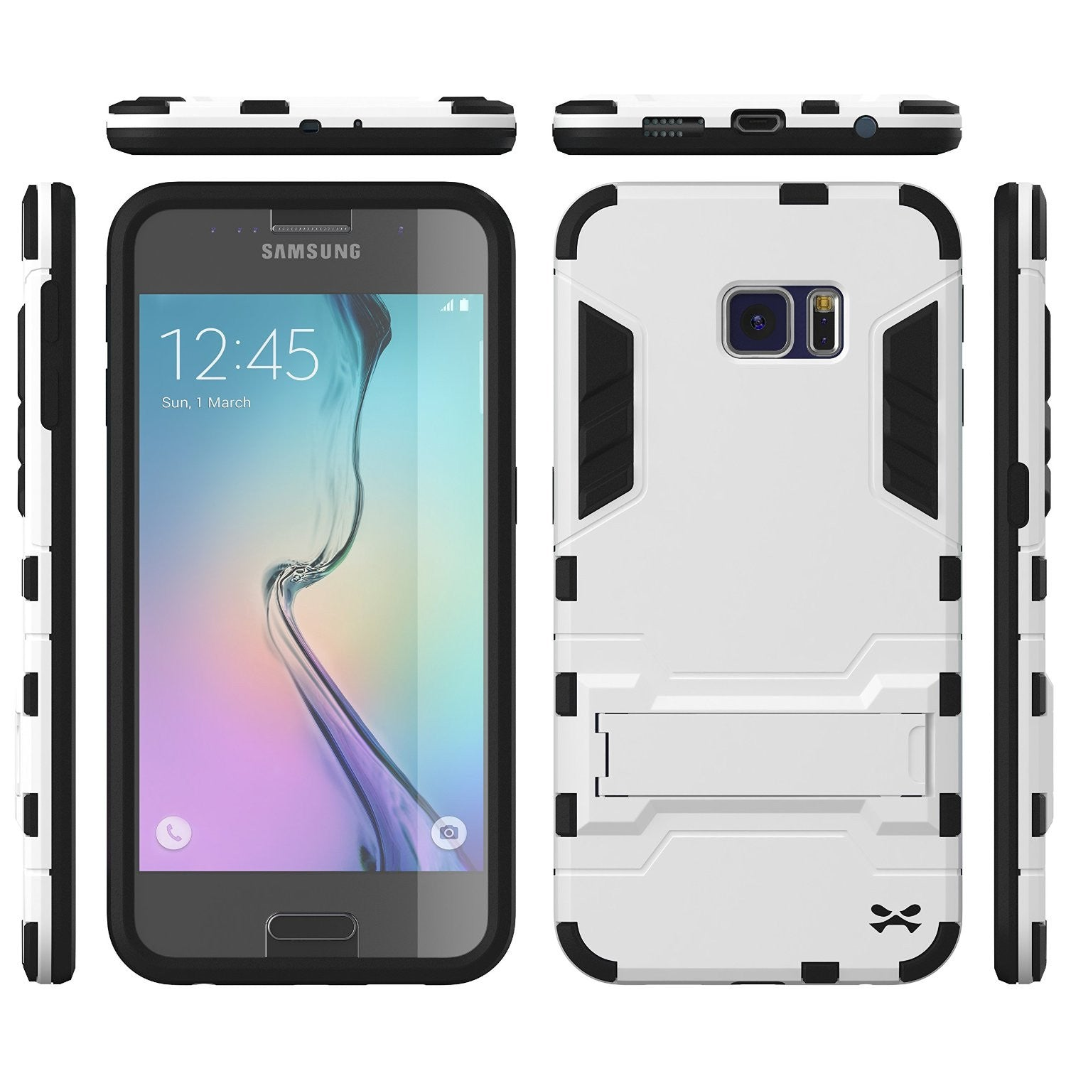 S6 Case, Ghostek Armadillo White Samsung Galaxy S6 Case w/ Tempered Glass Screen Protector