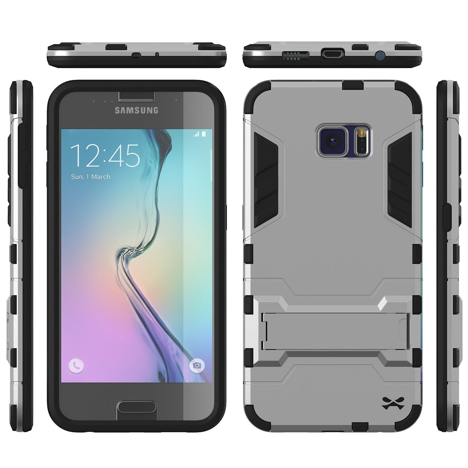 S6 Case, Ghostek Armadillo Silver Samsung Galaxy S6 Case w/ Tempered Glass Screen Protector