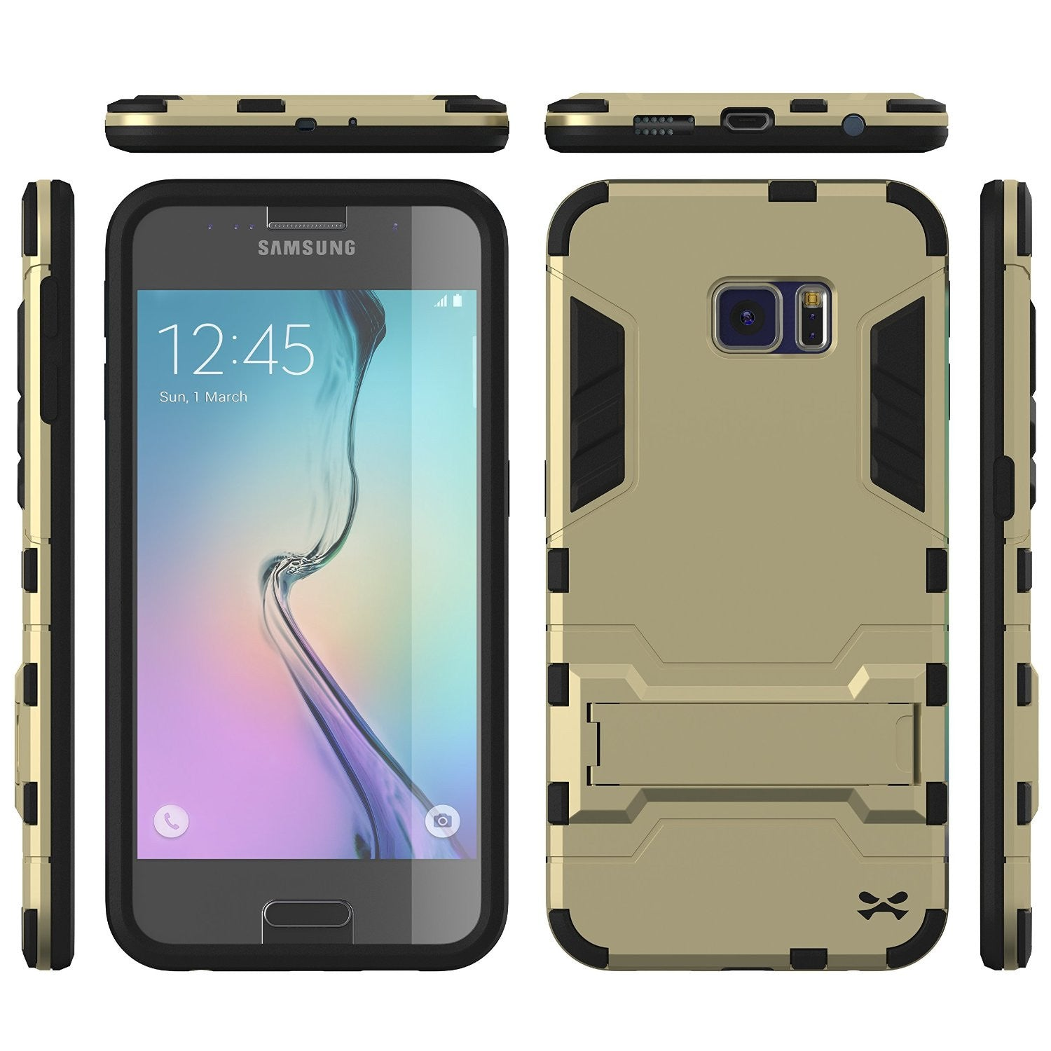 S6 Case, Ghostek Armadillo Gold Samsung Galaxy S6 Case w/ Tempered Glass Protector w/ Kickstand