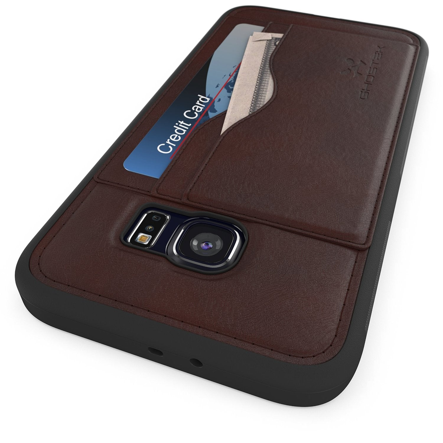 S6 Edge Wallet Case, Ghostek Stash Dark Brown | Wallet Case w/Screen Protector | Premium PU Leather