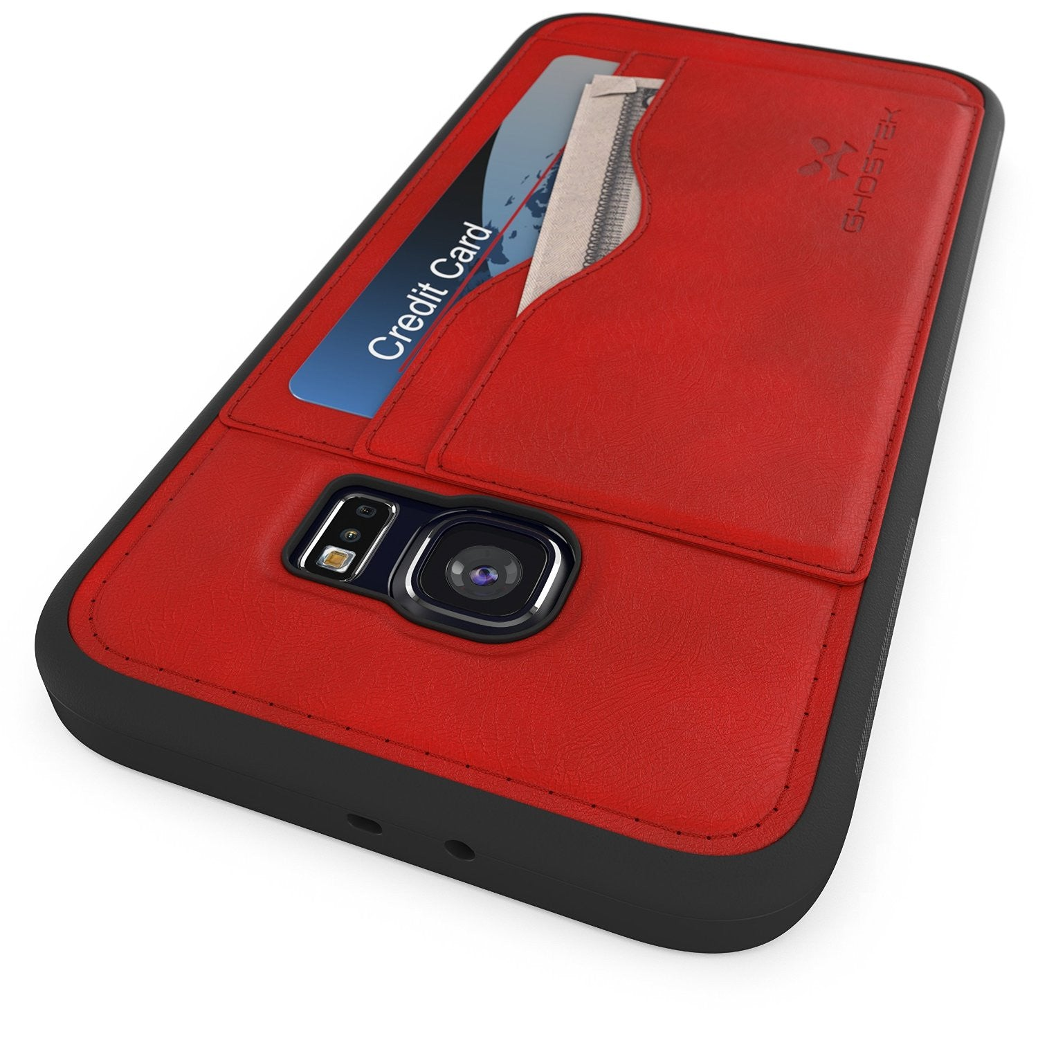 S6 Edge Wallet Case, Ghostek Stash Red | Wallet Case w/Screen Protector | Premium Soft PU Leather