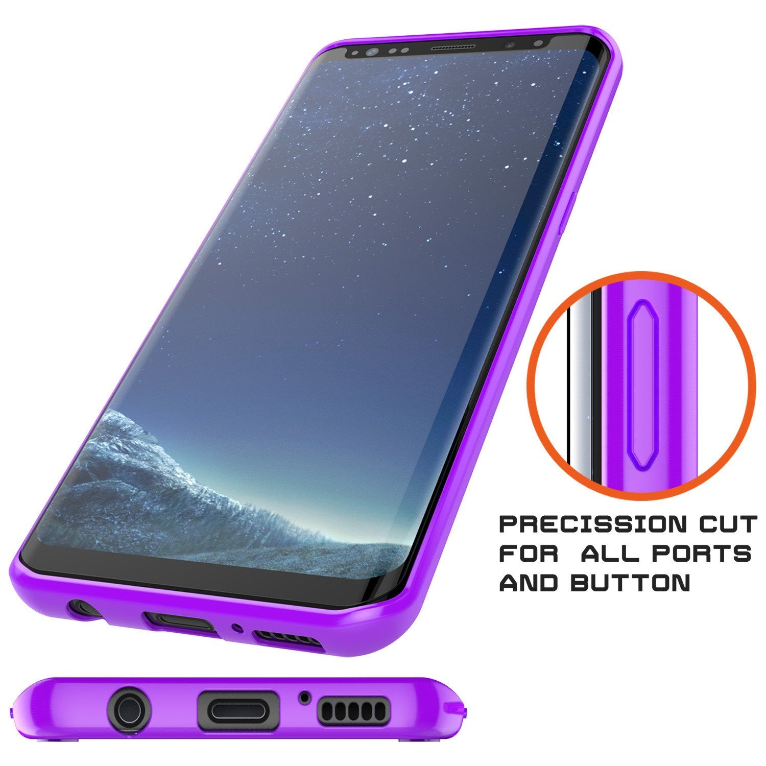 S8 Case Punkcase® LUCID 2.0 Purple Series w/ PUNK SHIELD Screen Protector | Ultra Fit