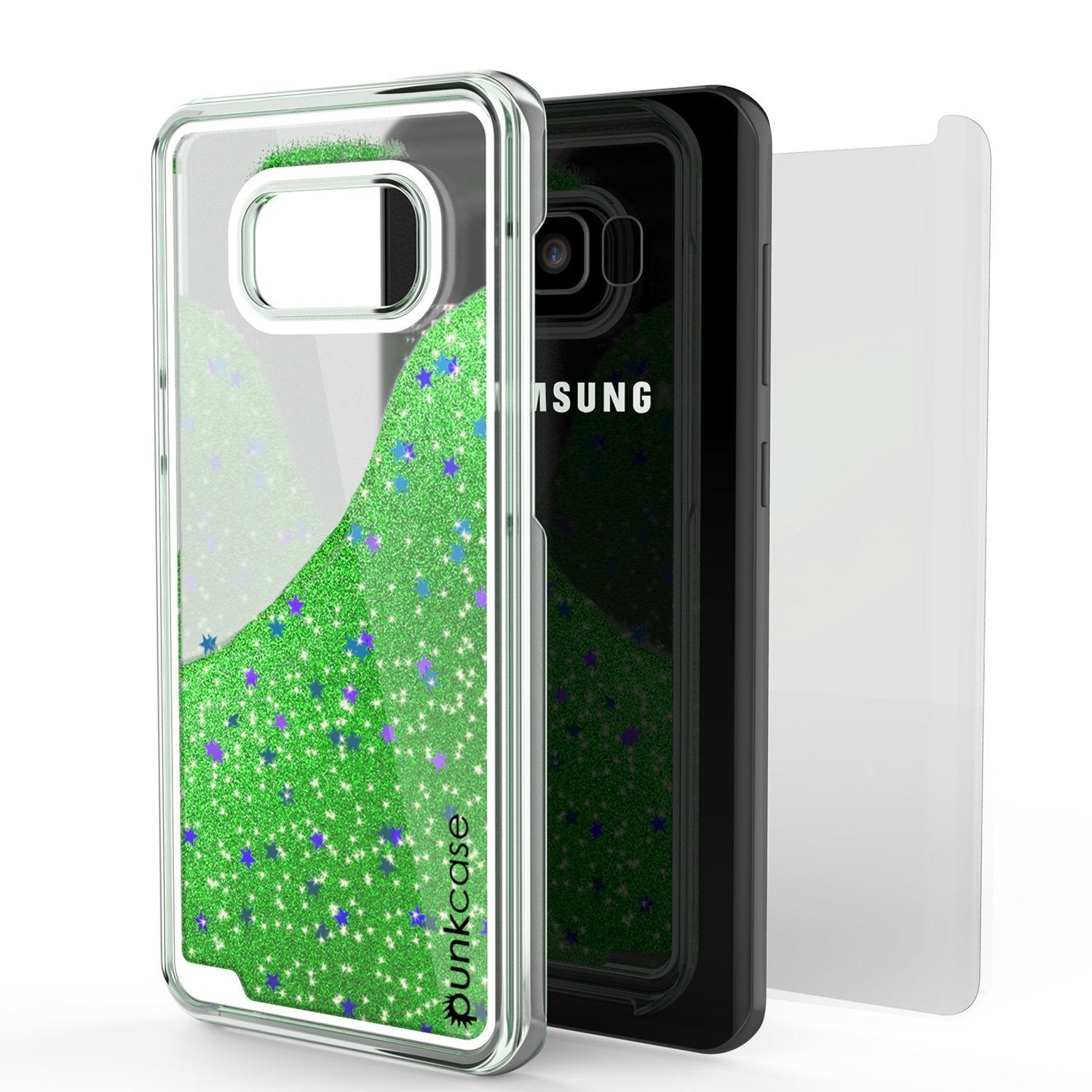 S8 Plus Case, Punkcase Liquid Green Series, Protective Dual Layer Floating Glitter Cover