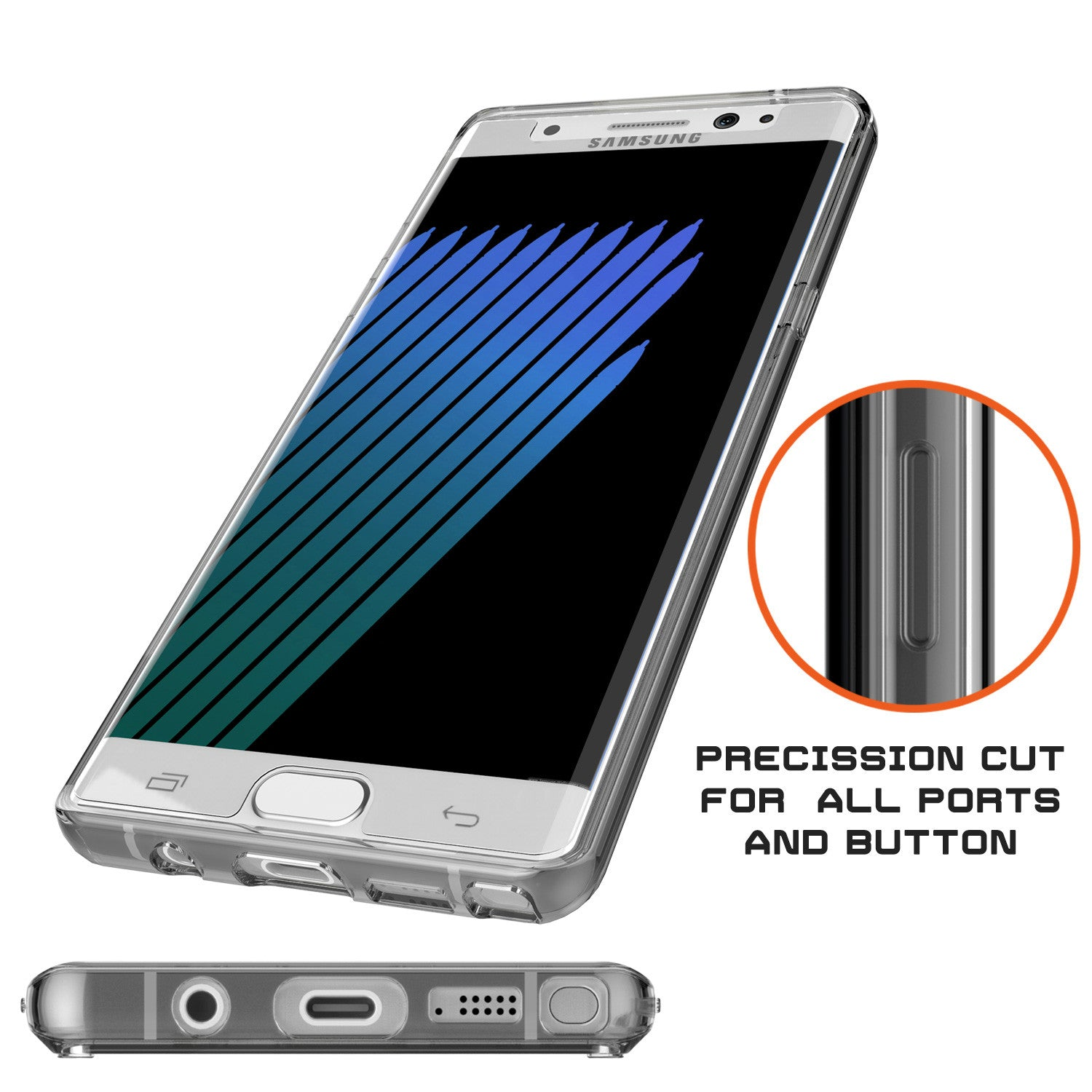 Note 7 Case Punkcase® LUCID 2.0 Crystal Black Series w/ PUNK SHIELD Screen Protector | Ultra Fit