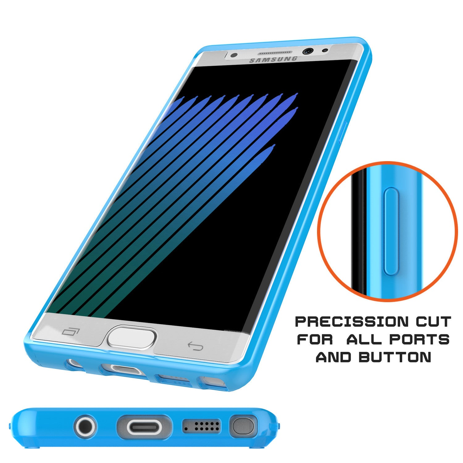 Note 7 Case Punkcase® LUCID 2.0 Light Blue Series w/ PUNK SHIELD Screen Protector | Ultra Fit