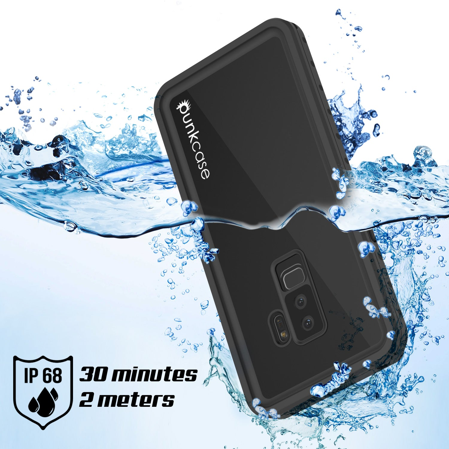 low priced fbb75 96e8a Galaxy S9 Plus Waterproof Case PunkCase StudStar Black Thin 6.6ft Unde