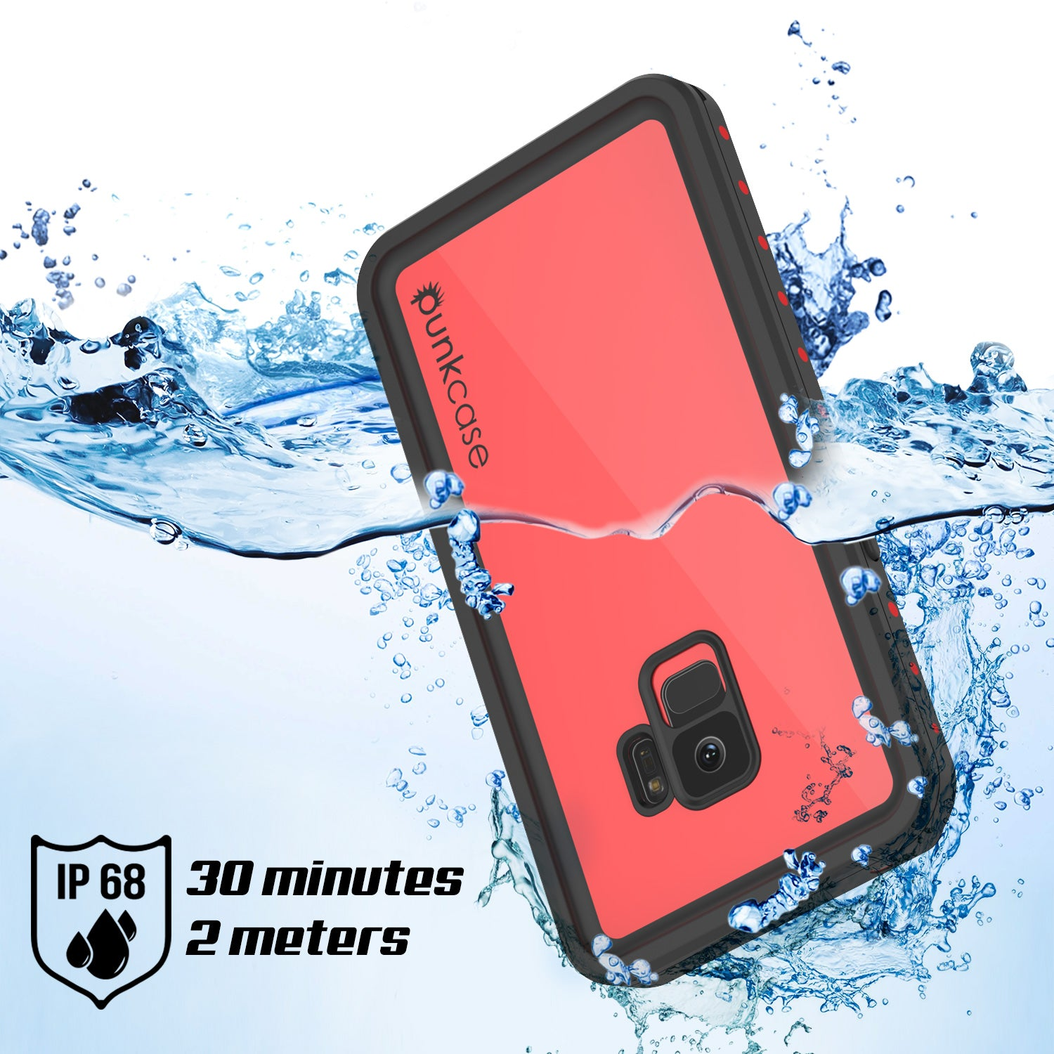 Galaxy S9 Waterproof Case PunkCase StudStar Red Thin 6 6ft Underwater IP68 Shock Snow Proof
