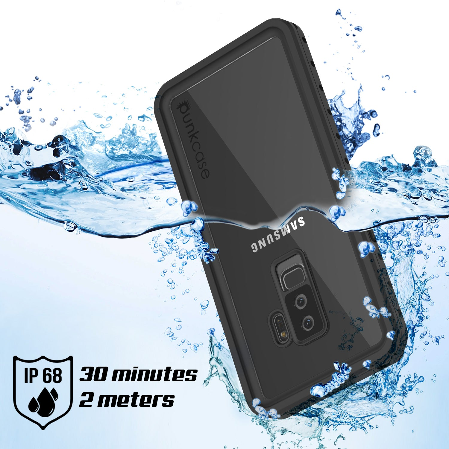 Galaxy S9 Plus Waterproof Case PunkCase StudStar Clear Thin 6.6ft Underwater IP68 Shock/Snow Proof