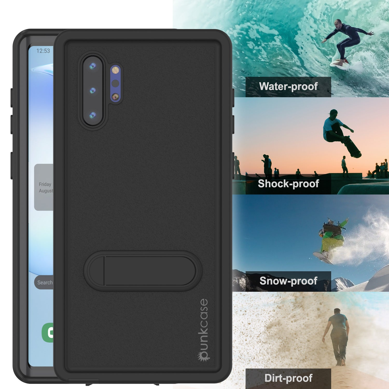 PunkCase Galaxy Note 10+ Plus Waterproof Case, [KickStud Series] Armor Cover [Black]
