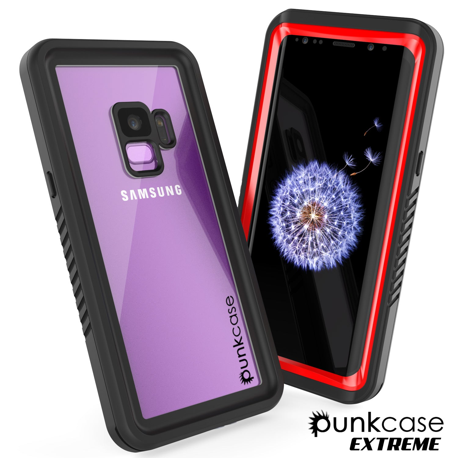 Galaxy S9 Waterproof Case, Punkcase [Extreme Series] Armor Cover [Red]