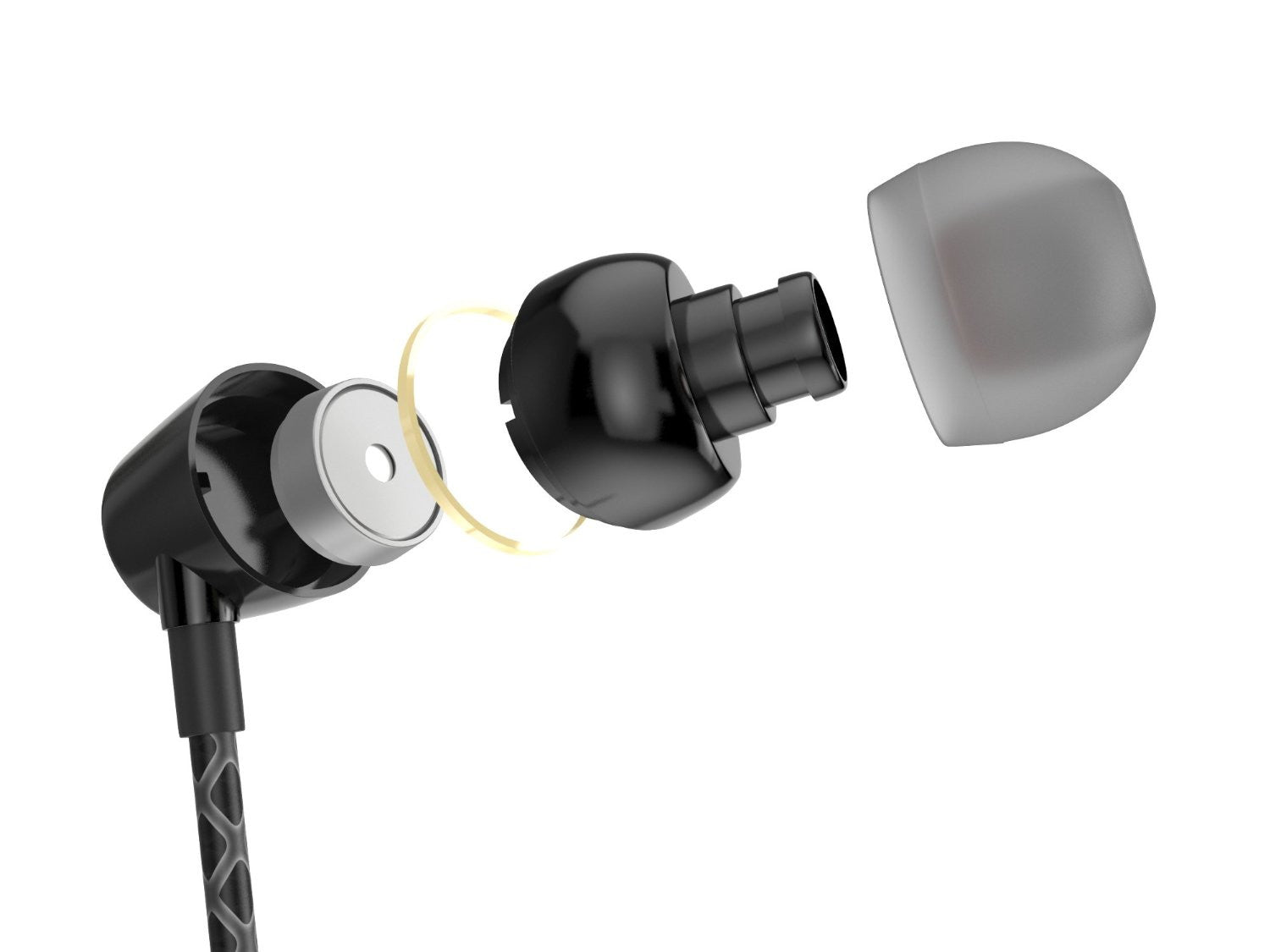 Wired 3.5MM Headphones Earphones, Ghostek Turbine Black Series Wired Earbuds | Built-In Microphone