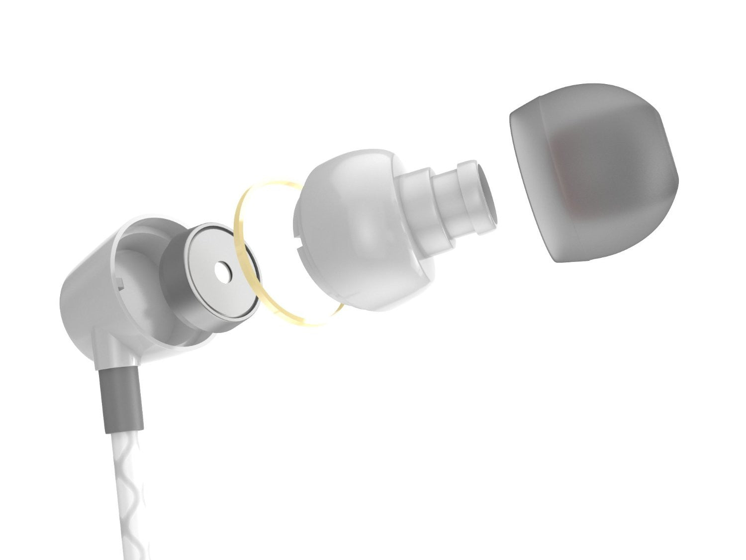 Wired 3.5MM Headphones Earphones, Ghostek® Turbine White Series Wired Earbuds | Built-In Microphone