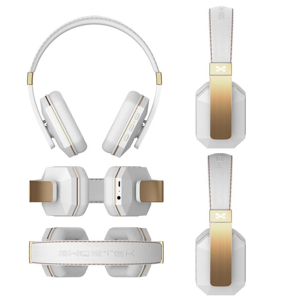 Wireless Bluetooth Headphones, Ghostek soDrop 2  [Gold] Series aptX Over-Ear Headset with Noise Reduction, Bluetooth 4.0, HD Sound