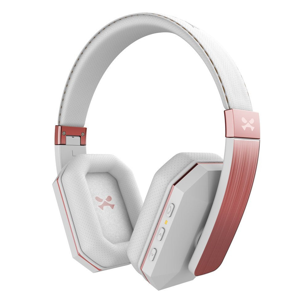 Wireless Bluetooth Headphones, Ghostek soDrop 2  [White & Rose] Series aptX Over-Ear Headset with Noise Reduction, Bluetooth 4.0, HD Sound, Built-in Microphone, Hands-Free, Brushed Aluminum & Leather