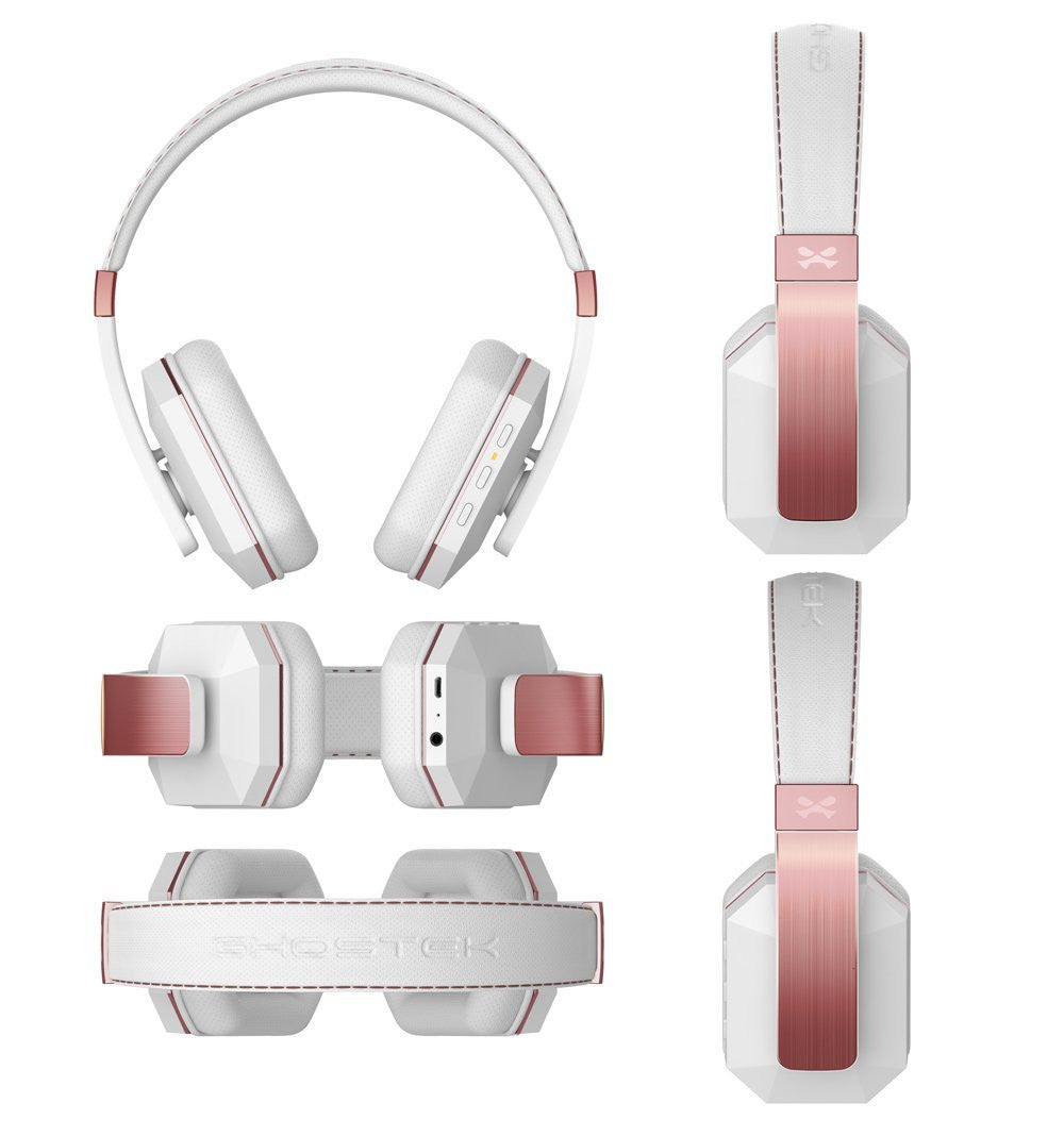 Wireless Bluetooth Headphones, Ghostek soDrop 2  [White & Rose] Series aptX Over-Ear Headset with Noise Reduction, Bluetooth 4.0, HD Sound
