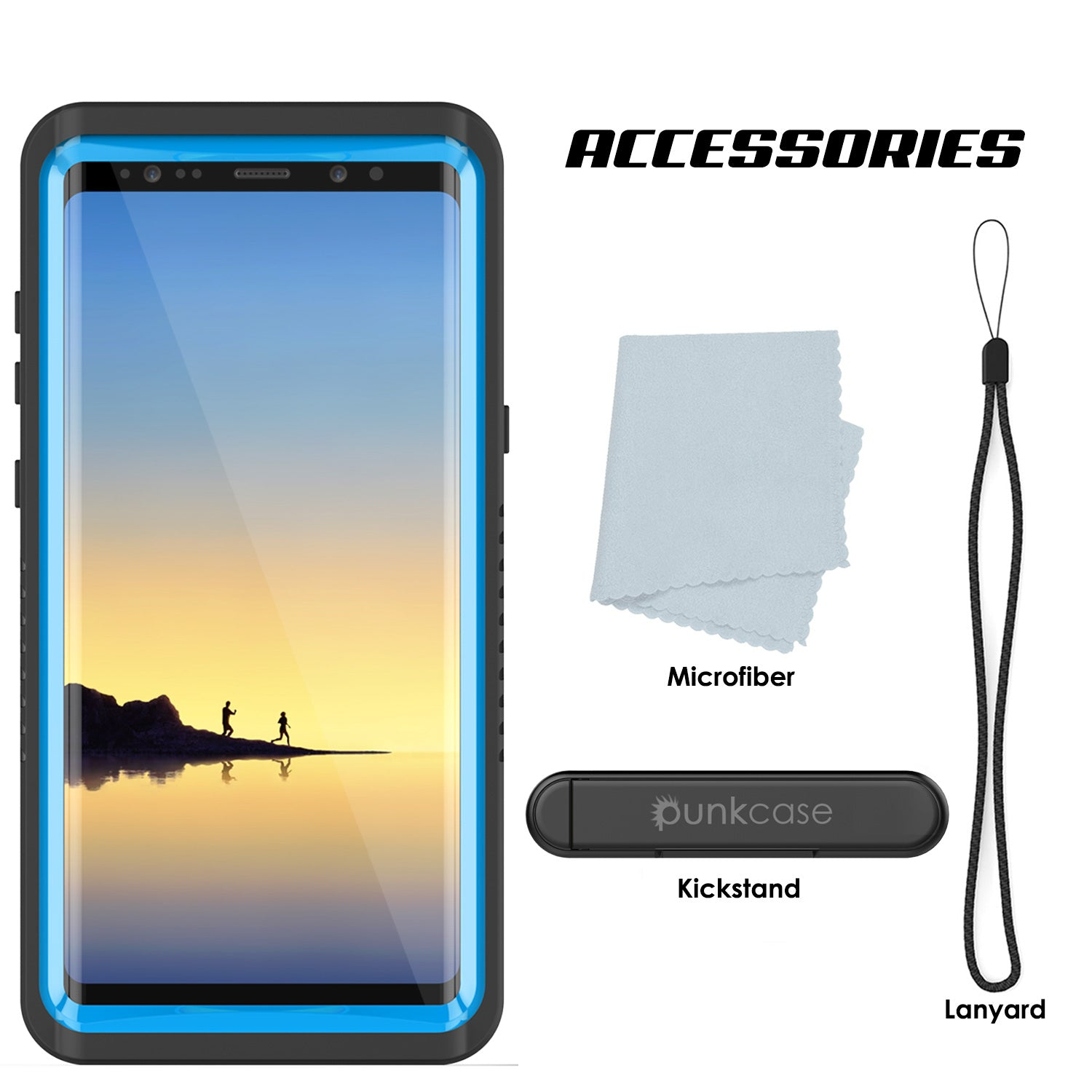 Galaxy Note 8 Anti-Shock Screen Protector Slim-Fit Case [Light Blue]