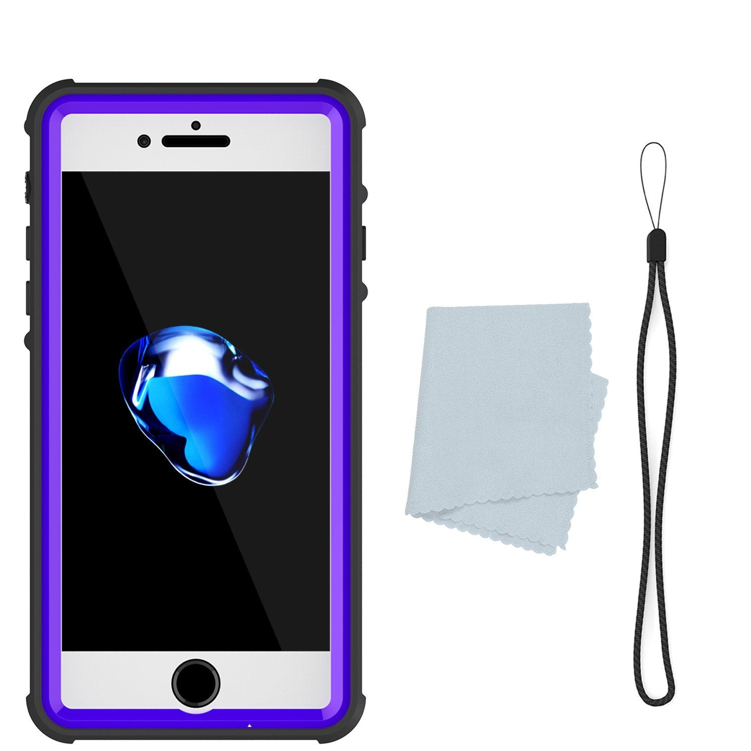 Apple iPhone 8 Waterproof Case, PUNKcase CRYSTAL Purple W/ Attached Screen Protector  | Warranty
