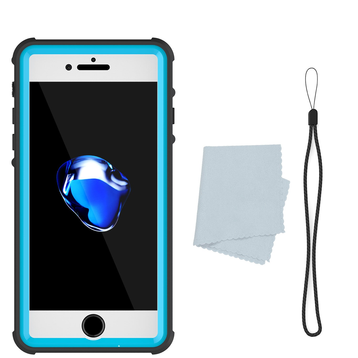 iPhone 7+ Plus Waterproof Case, PUNKcase CRYSTAL Light Blue  W/ Attached Screen Protector  | Warranty