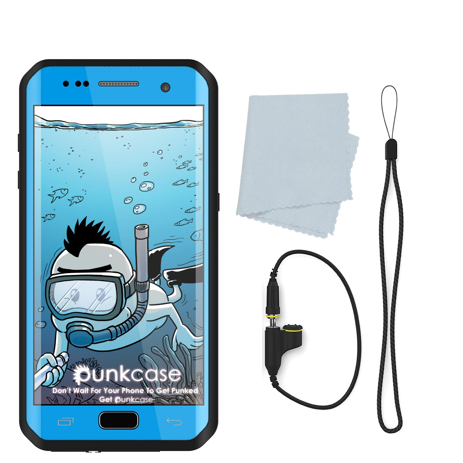 Galaxy S7 EDGE Waterproof Case PunkCase StudStar Light Blue Thin 6.6ft Underwater IP68 ShockProof
