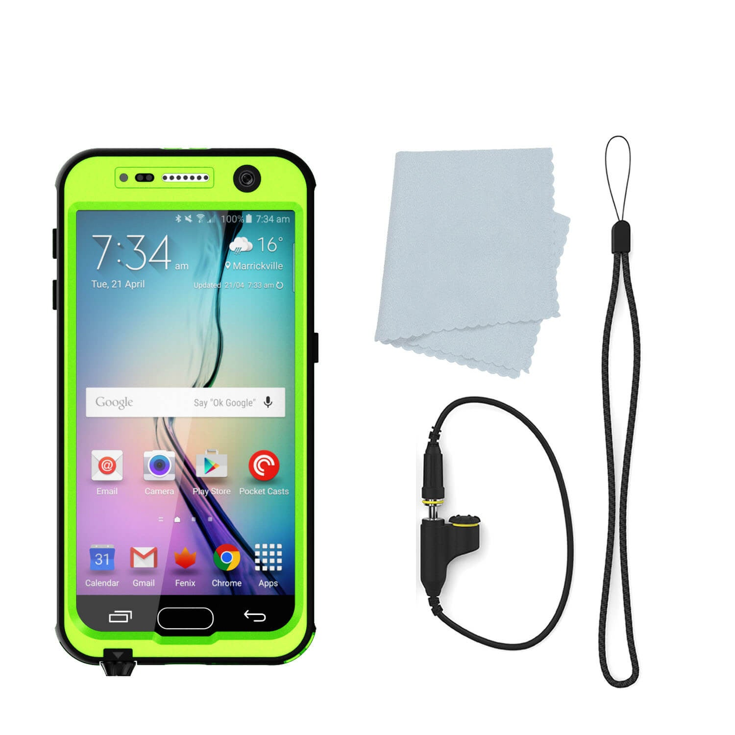 Galaxy S6 Waterproof Case PunkCase StudStar Light Green Thin 6.6ft Underwater IP68 Shock/Dirt Proof