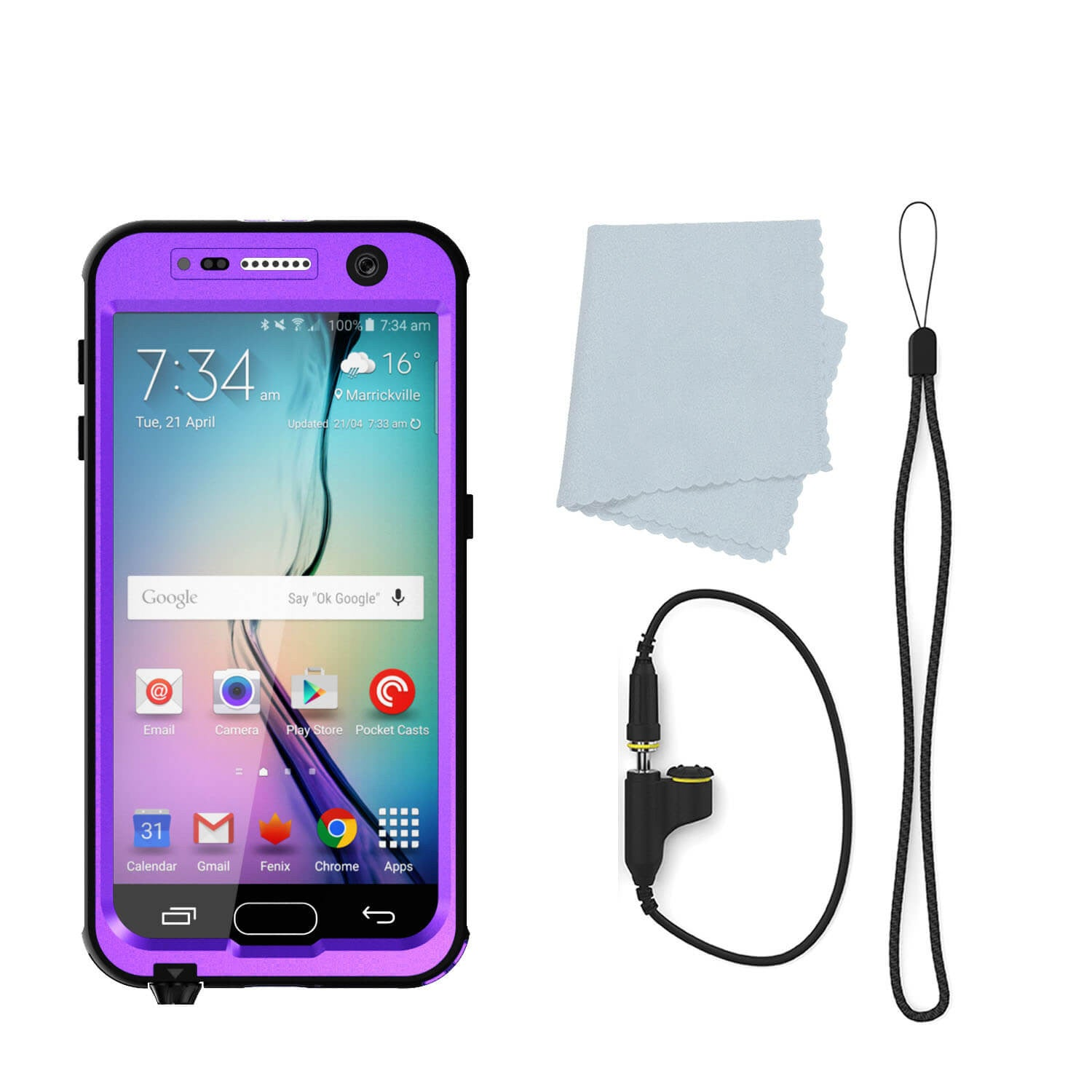 Galaxy S7 Waterproof Case PunkCase StudStar Purple Thin 6.6ft Underwater IP68 Shock/Dirt/Snow Proof