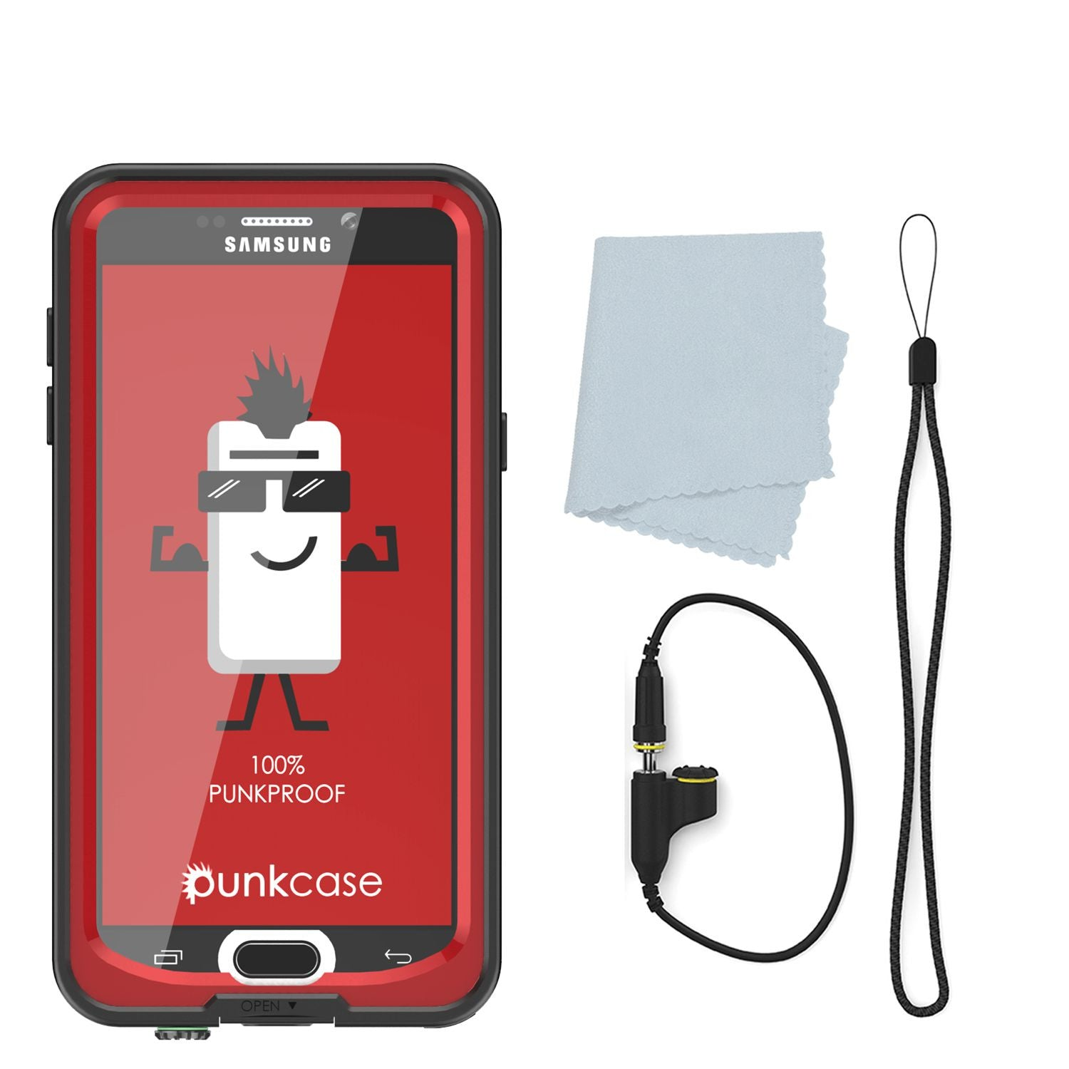 Galaxy Note 5 Waterproof Case, Punkcase StudStar Red Water/Shock/Dirt/Snow Proof | Lifetime Warranty