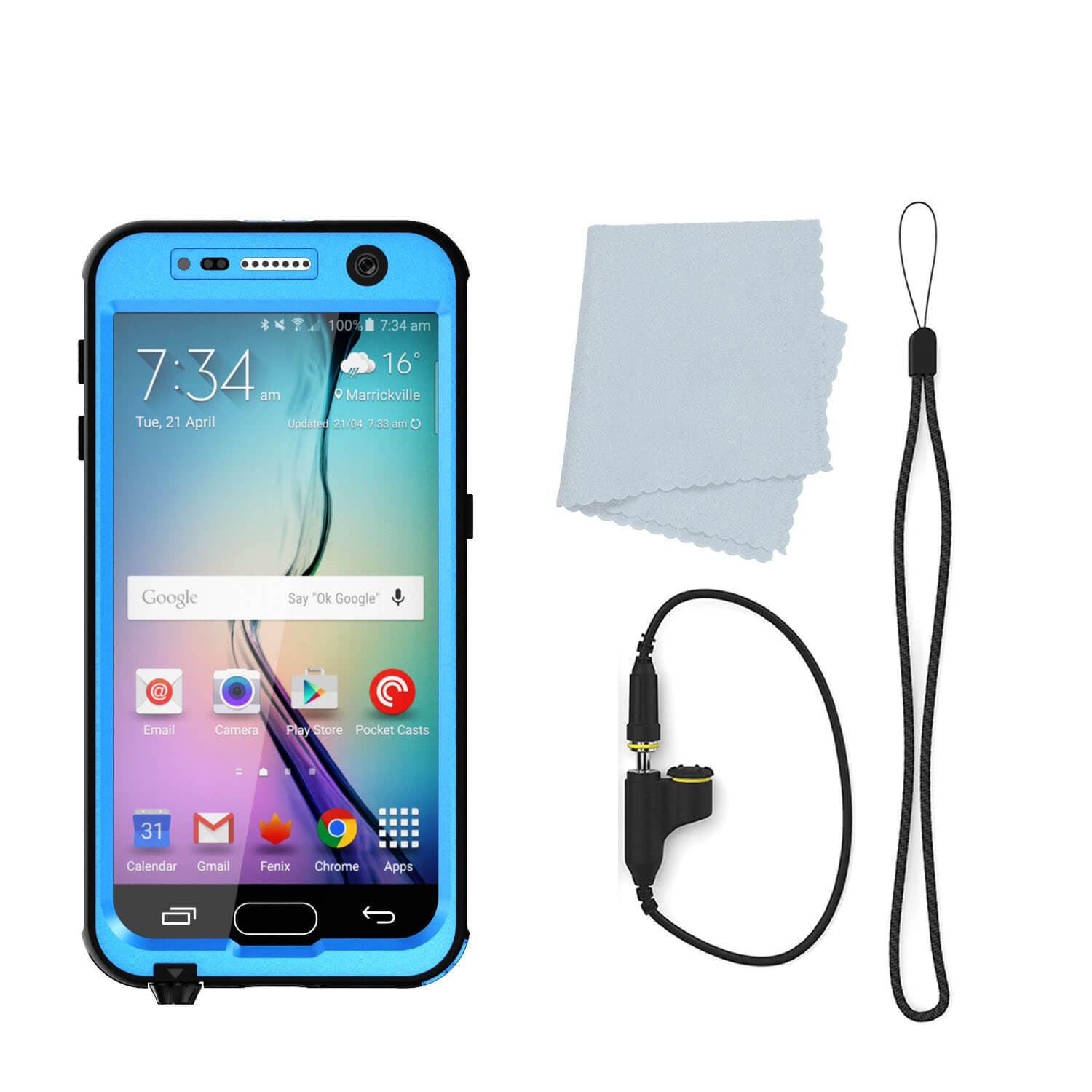 Galaxy S7 Waterproof Case PunkCase StudStar Light Blue Thin 6.6ft Underwater IP68 Shock/Dirt Proof