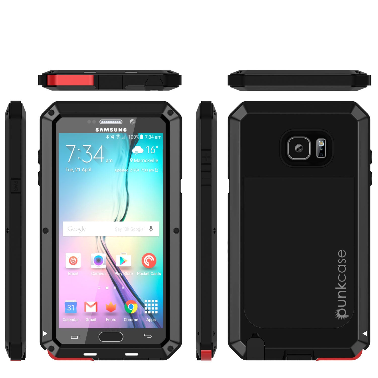 Note 5 Case, Punkcase® METALLIC Series BLACK w/ TEMPERED GLASS | Aluminum Frame