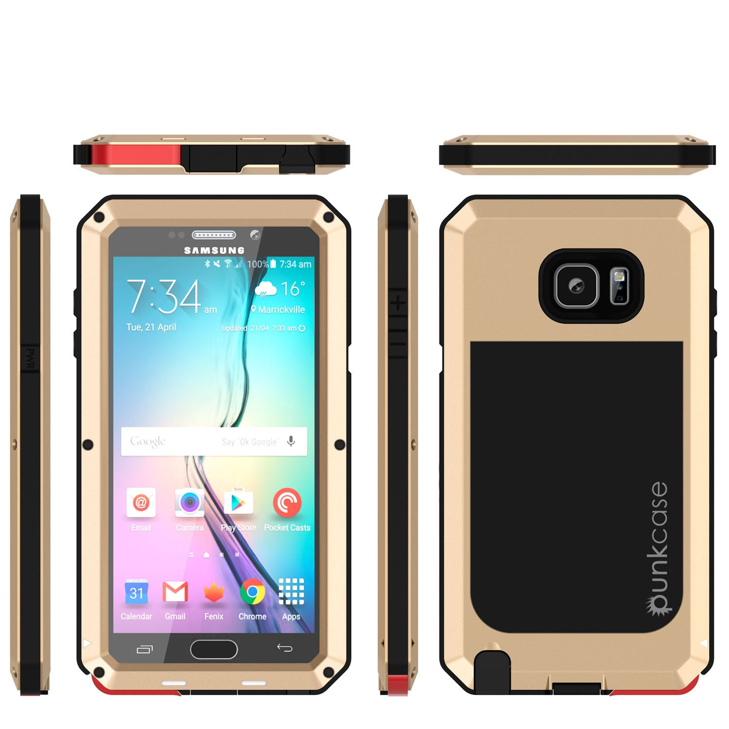 S7 Case, Punkcase® METALLIC Series GOLD for Samsung Galaxy S7 W/ TEMPERED GLASS | Aluminum Frame