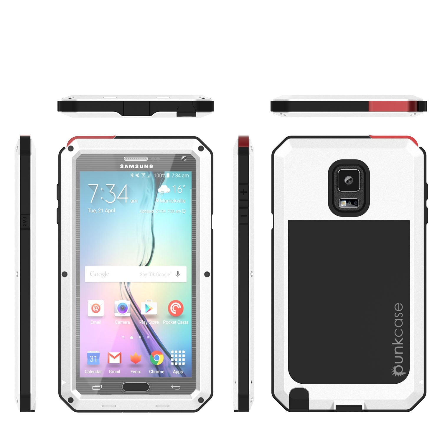 Note 4 Case, Punkcase® METALLIC Series WHITE w/ TEMPERED GLASS | Aluminum Frame