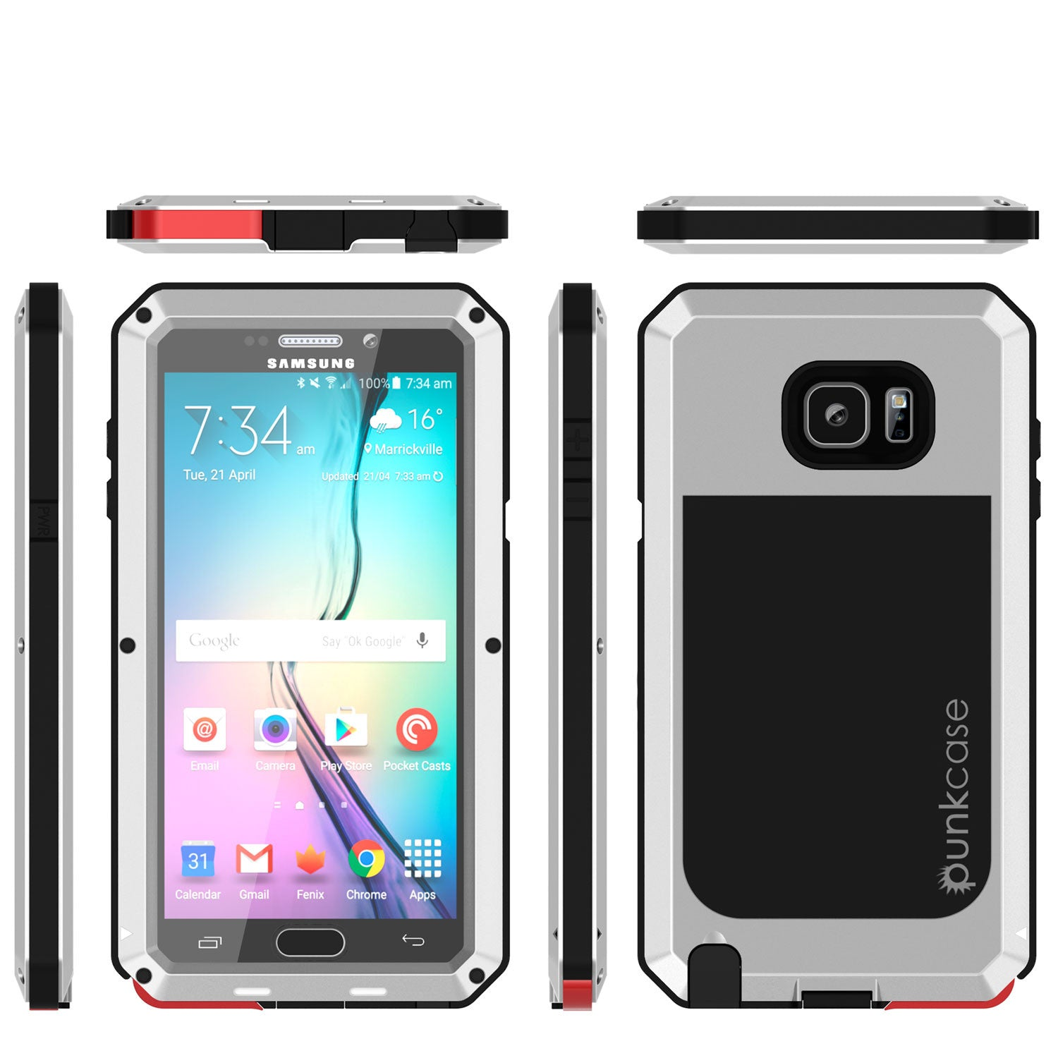 Note 5 Case, Punkcase® METALLIC Series SILVER w/ TEMPERED GLASS | Aluminum Frame