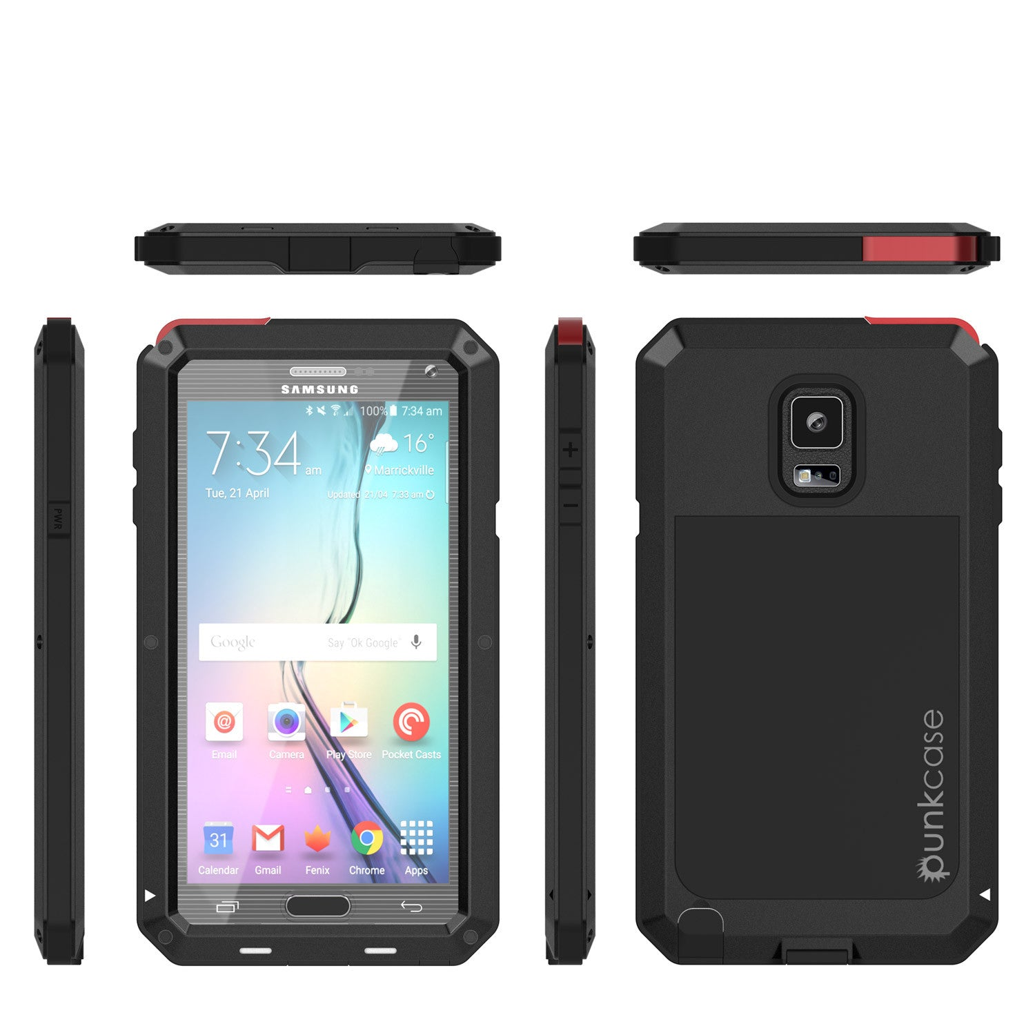 Note 4 Case, Punkcase® METALLIC Series BLACK w/ TEMPERED GLASS | Aluminum Frame