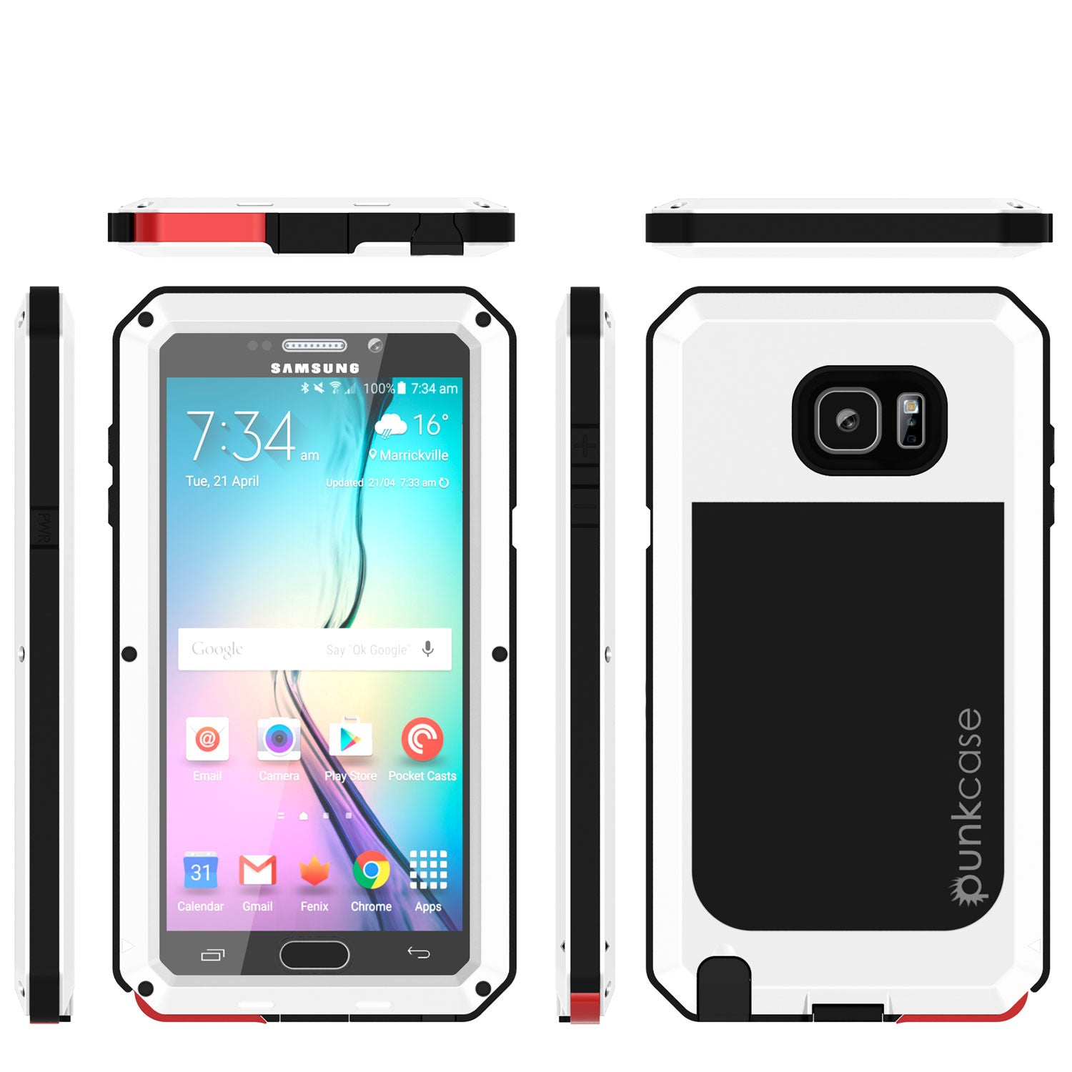 Note 5 Case, Punkcase® METALLIC Series WHITE w/ TEMPERED GLASS | Aluminum Frame