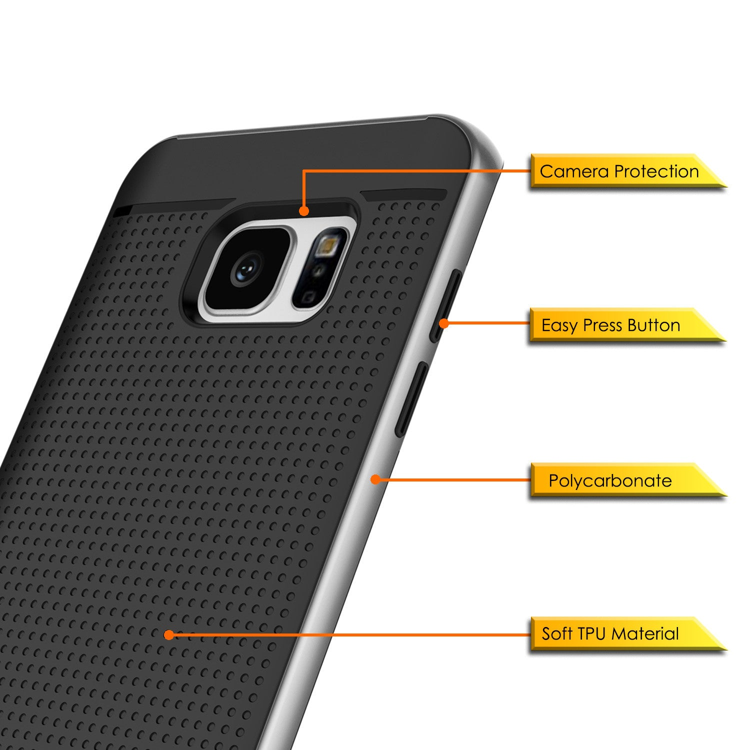 Galaxy S7 Edge Case, PunkCase STEALTH Grey Series Hybrid 3-Piece Shockproof Dual Layer Cover