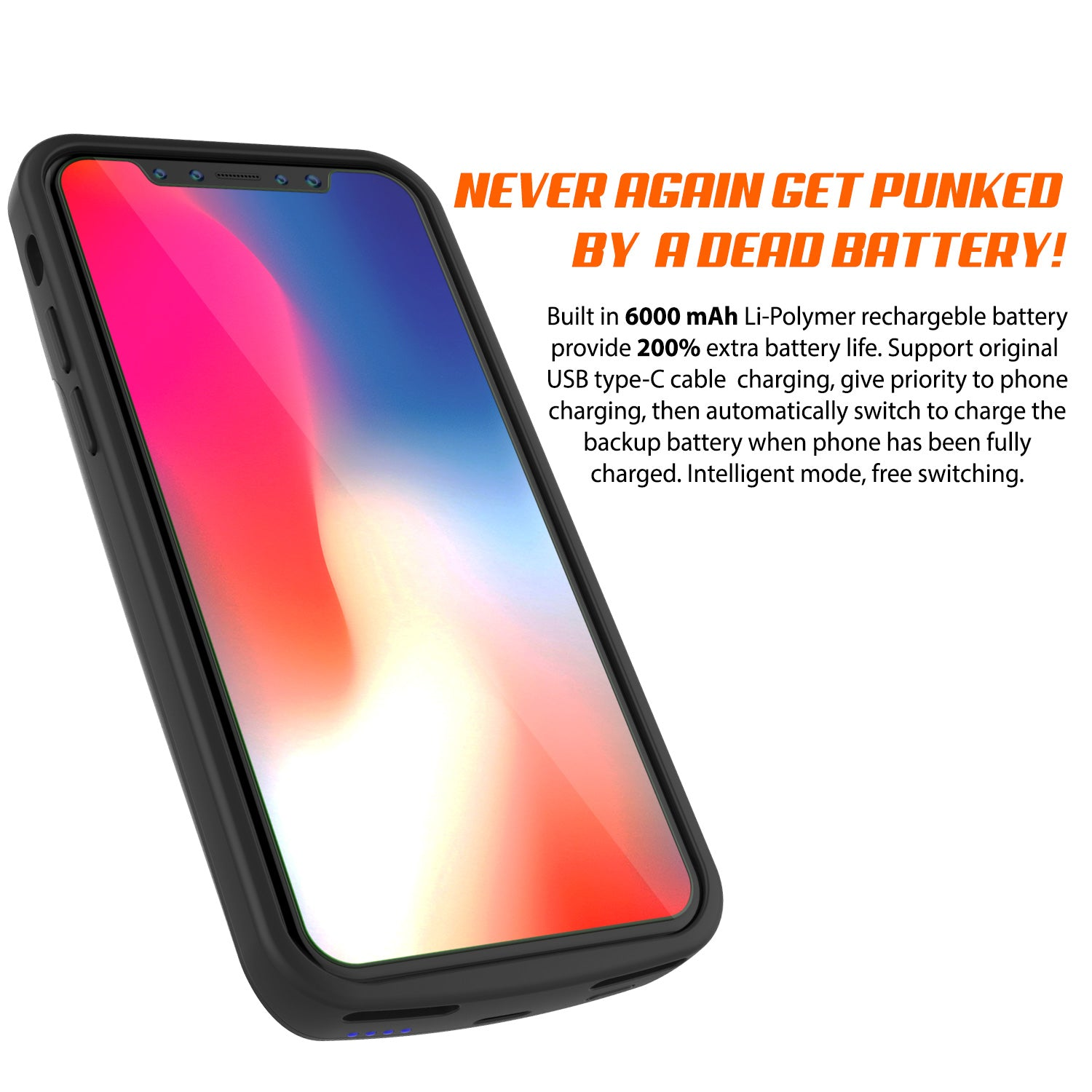 new product f198d df80d iPhone X Battery Case, PunkJuice 5000mAH Fast Charging Power Bank W/ S