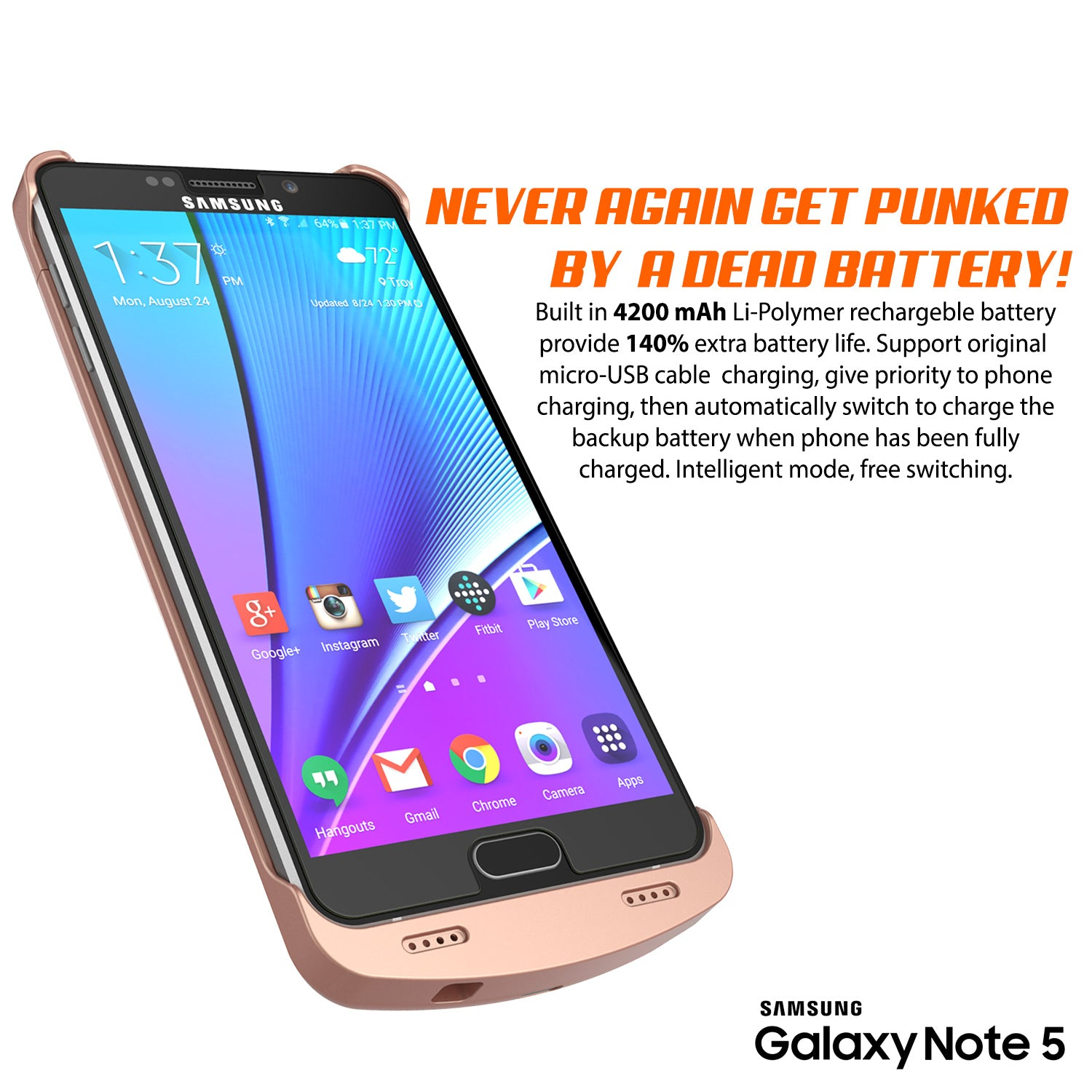 Galaxy Note 5 Battery Case, Punkcase 5000mAH Charger Case W/ Screen Protector | IntelSwitch [Rose Gold]