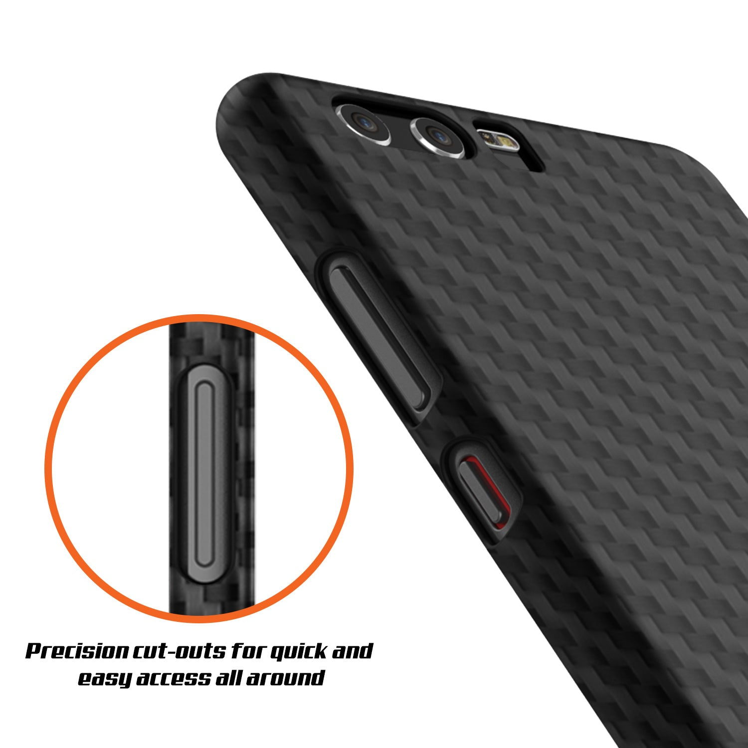 Huawei P10 Case, Punkcase CarbonShield, Heavy Duty [Jet Black] Cover