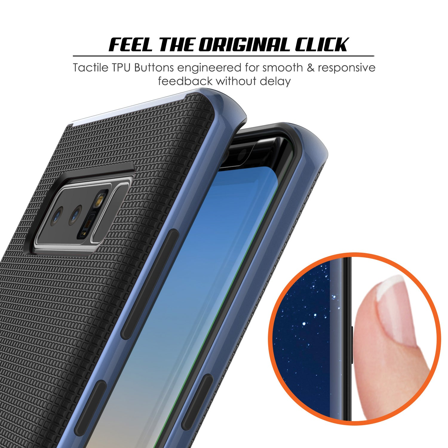 Galaxy Note 8 Case, PunkCase Stealth Navy Blue Series Hybrid 3-Piece Shockproof Dual Layer Cover